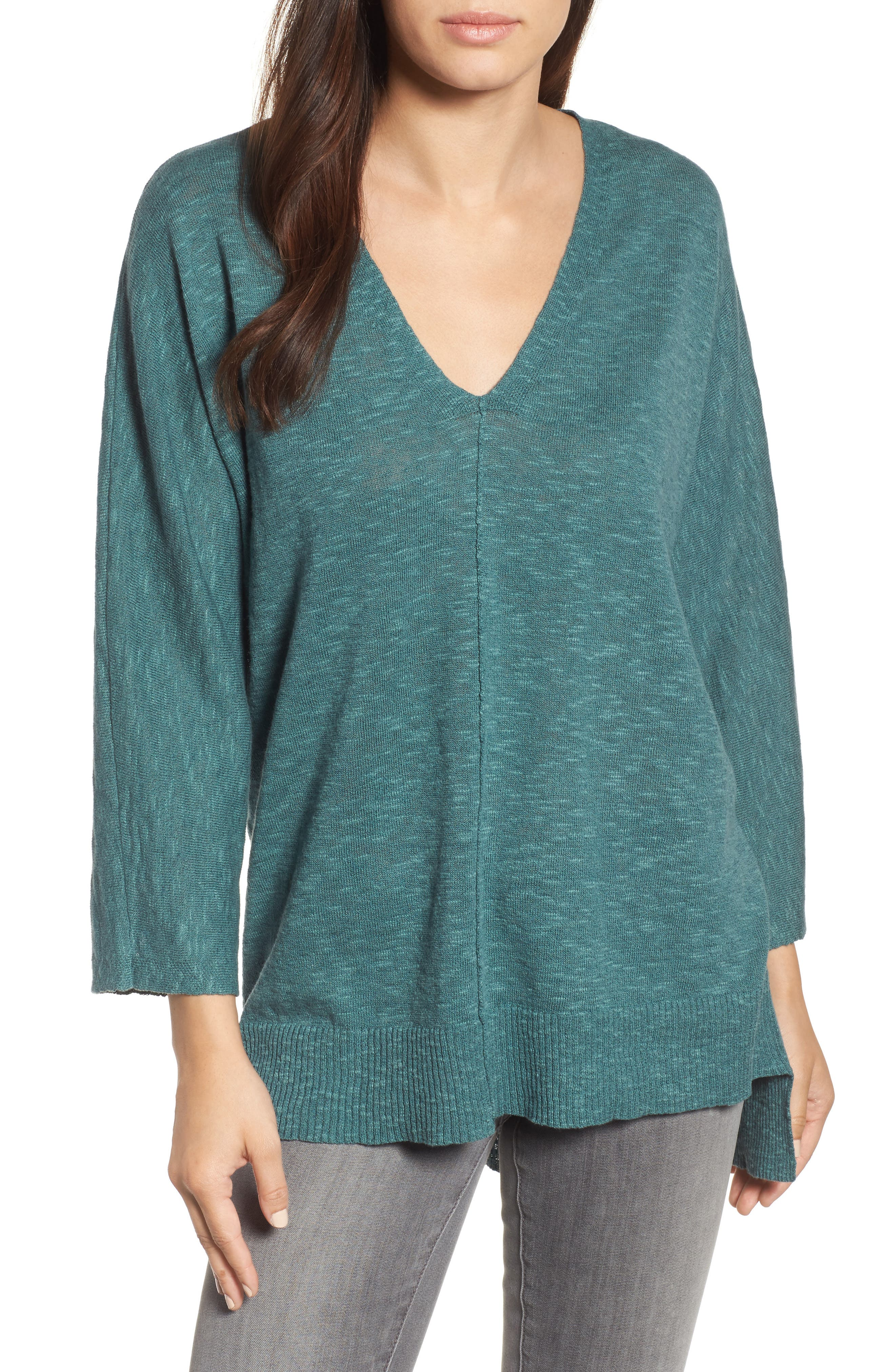 Organic Linen & Cotton Sweater,                         Main,                         color, Teal