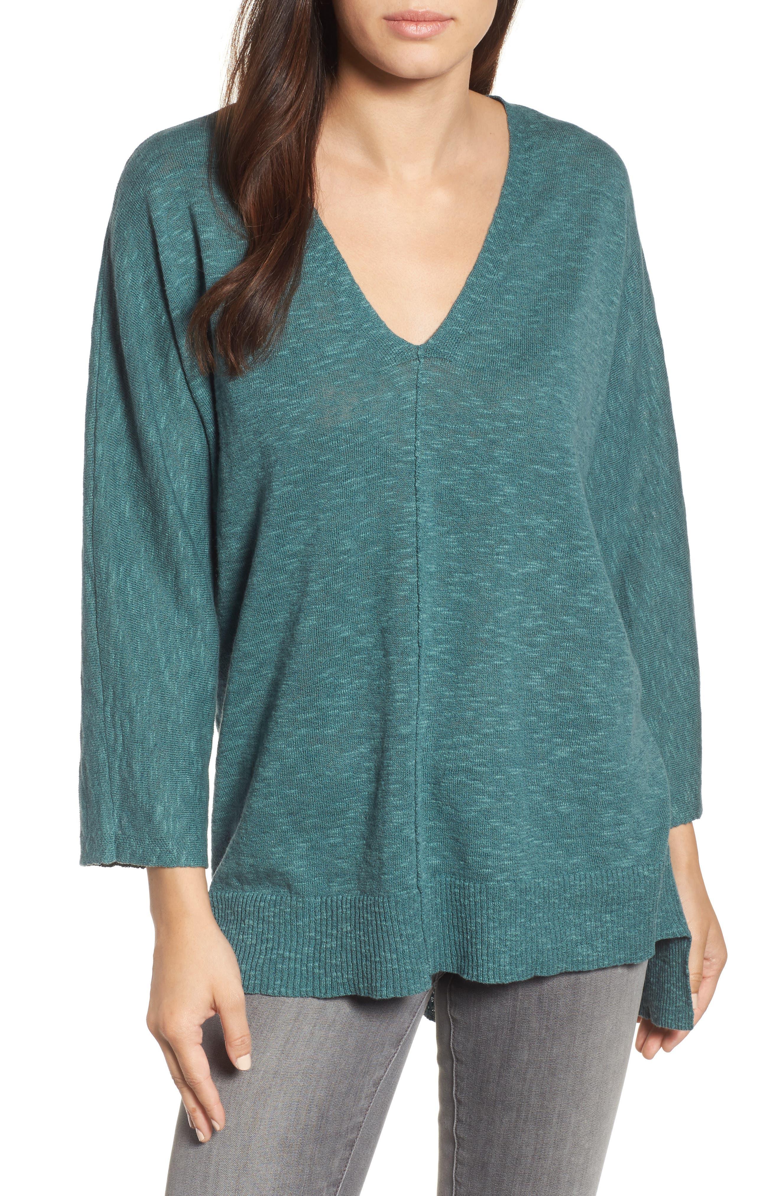 Eileen Fisher Organic Linen & Cotton Sweater (Regular & Petite)