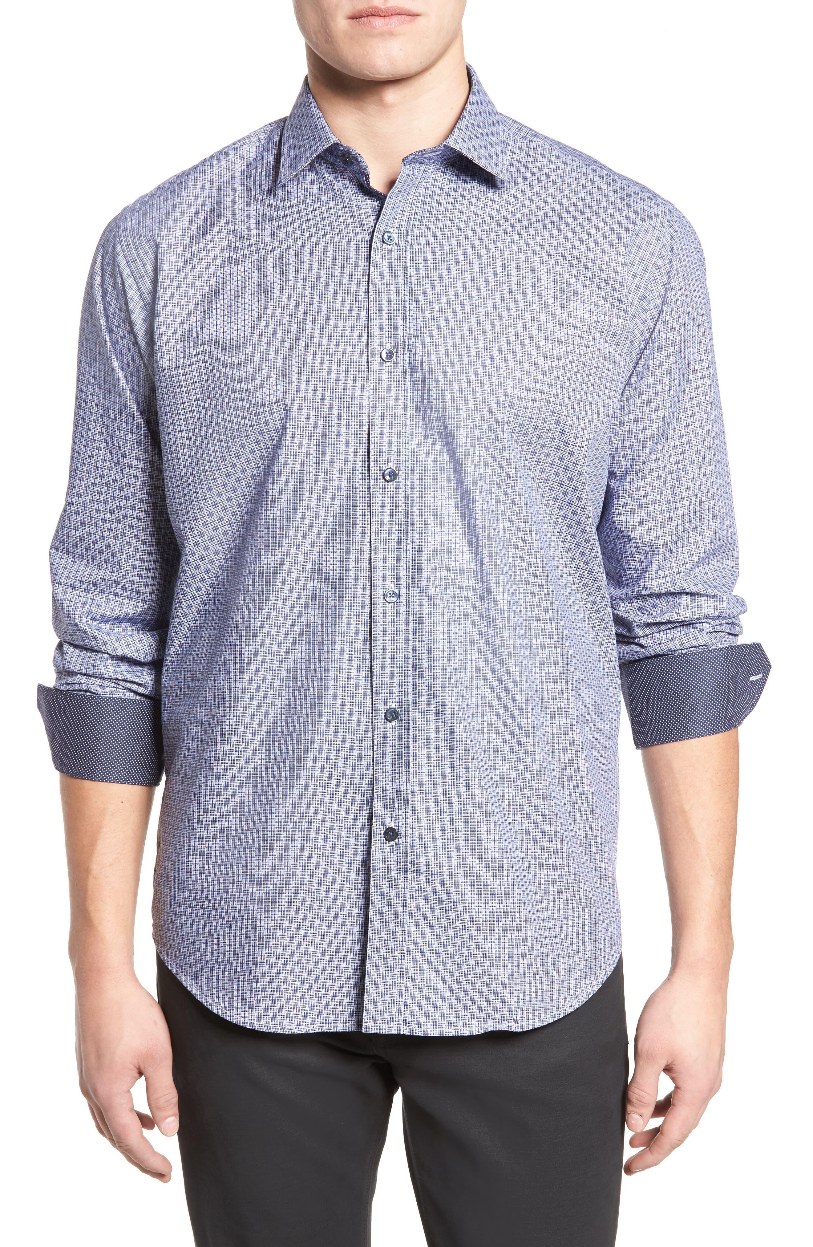 Classic Fit Print Sport Shirt,                         Main,                         color, Navy