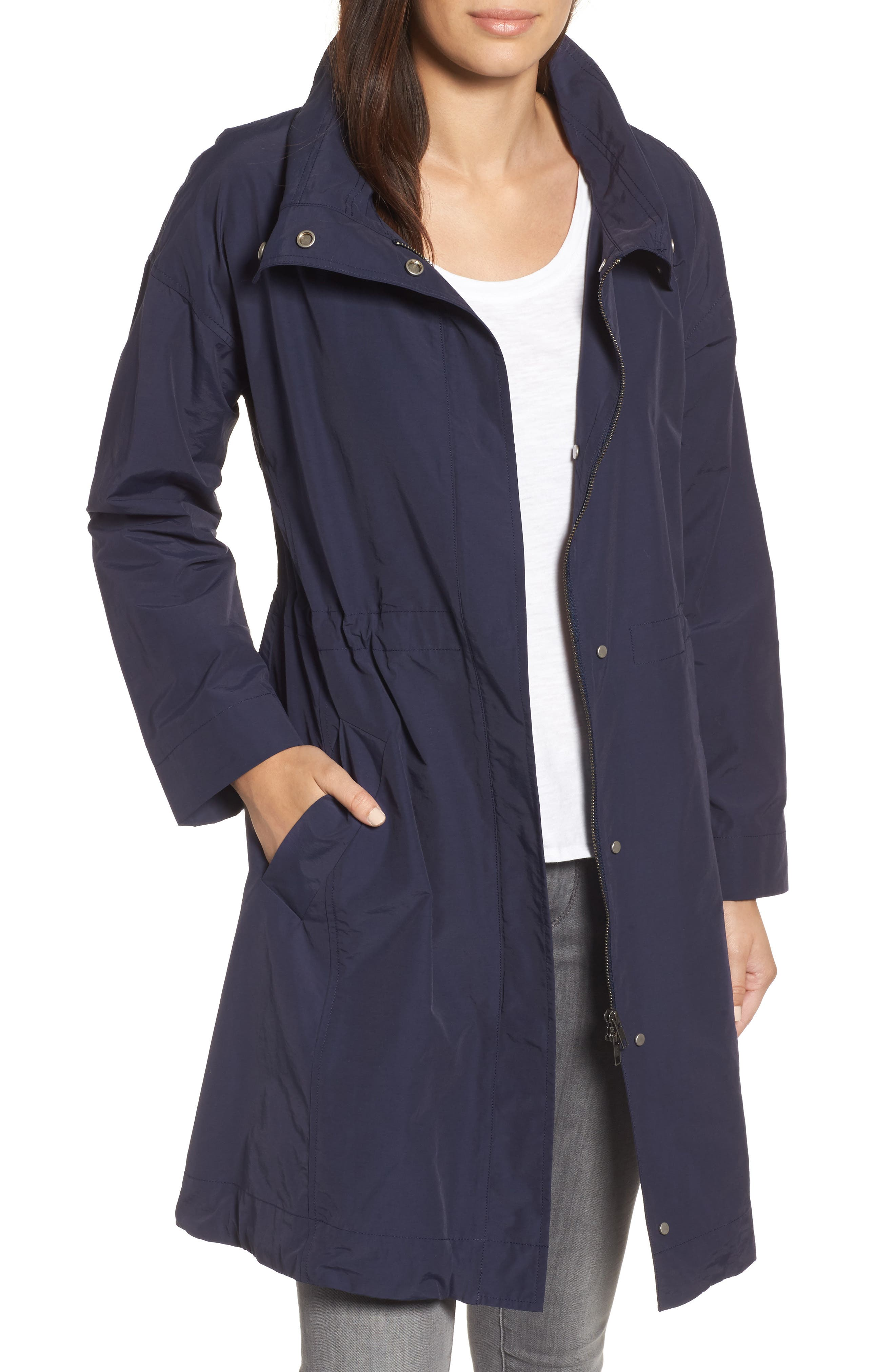 Alternate Image 1 Selected - Eileen Fisher High Collar Long Jacket