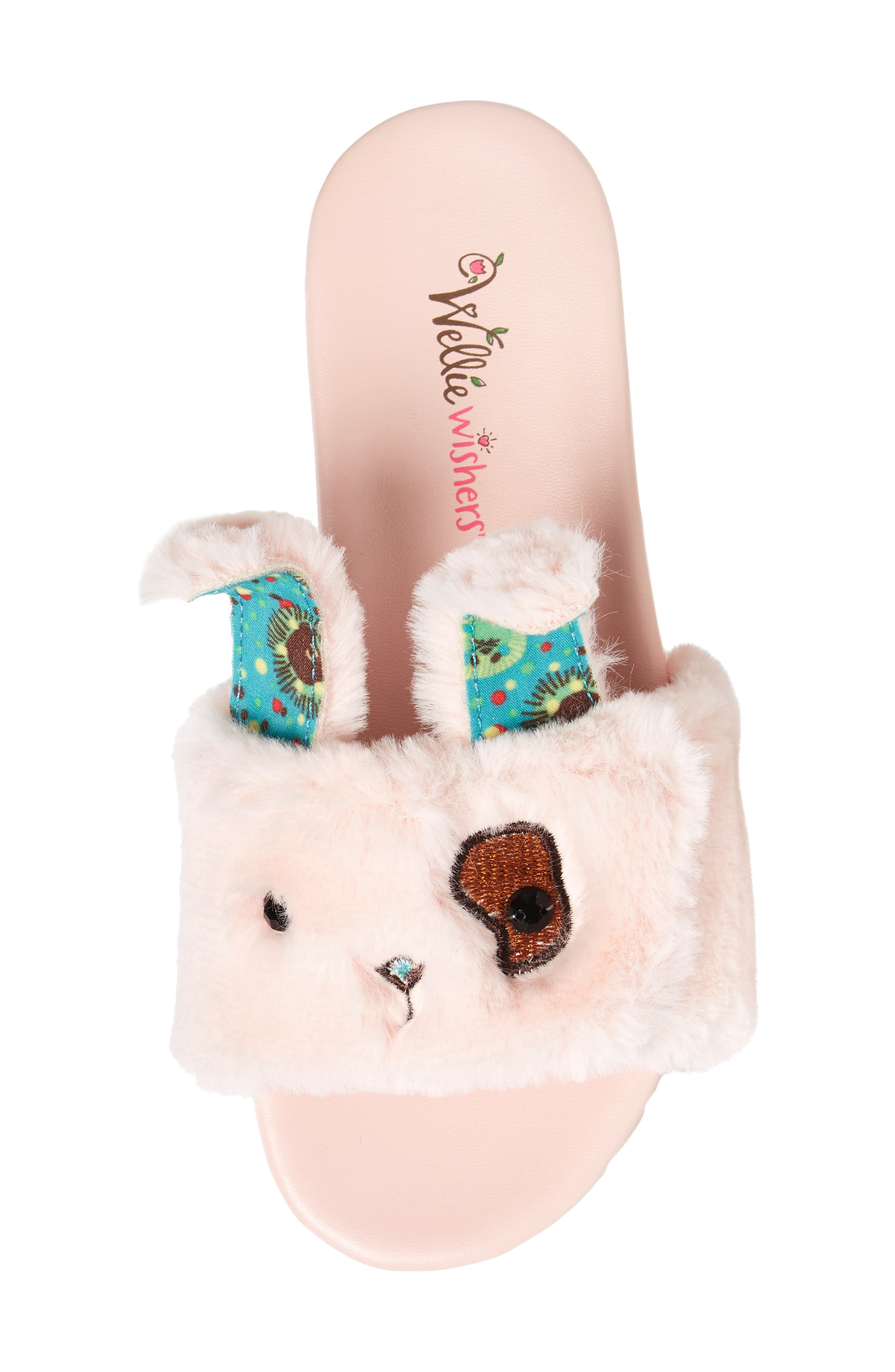 WellieWishers from American Girl Willa Carrot Faux Fur Slide Sandal (Toddler, Little Kid & Big Kid)