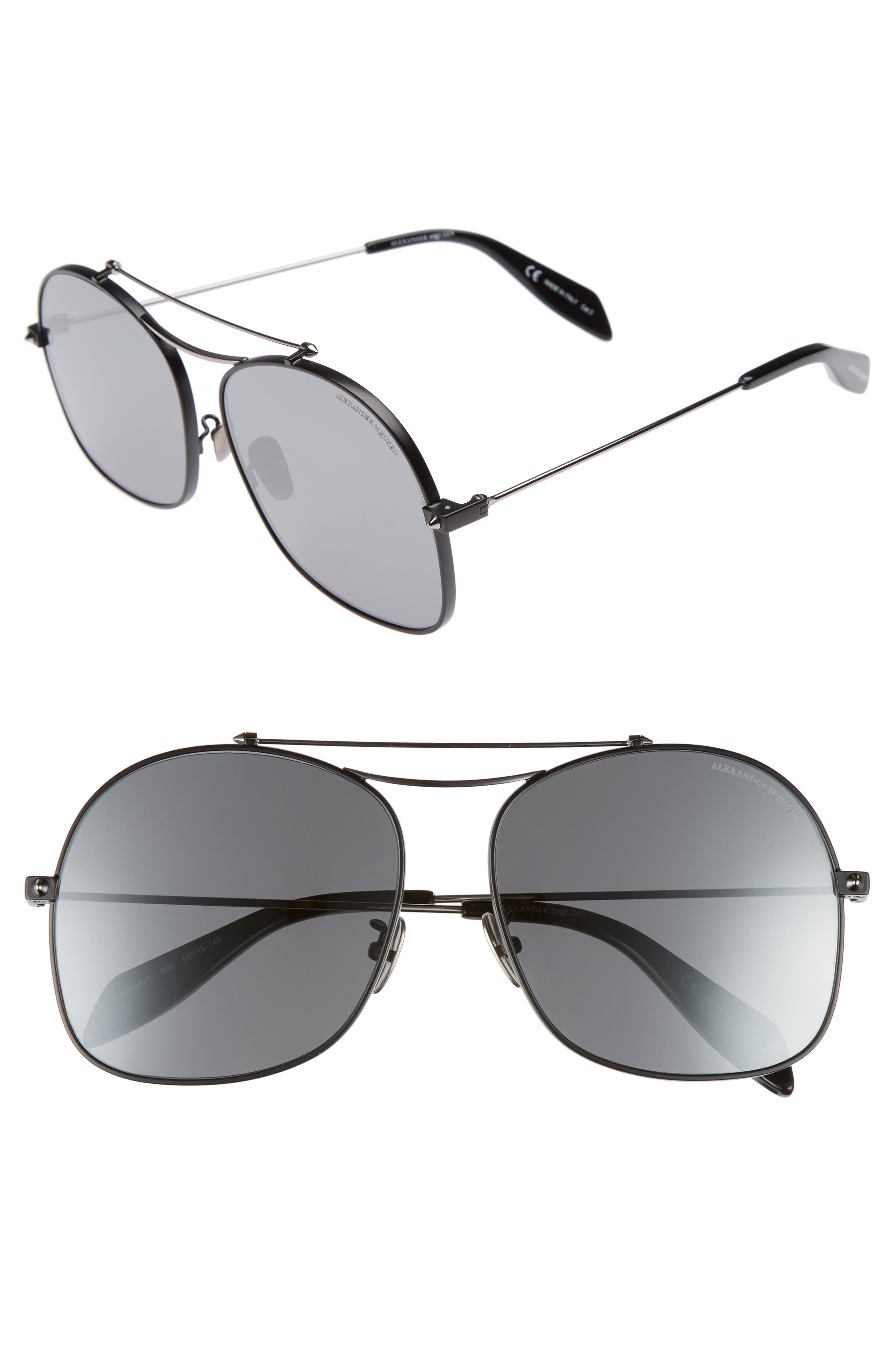 59mm Aviator Sunglasses,                             Main thumbnail 1, color,                             Black