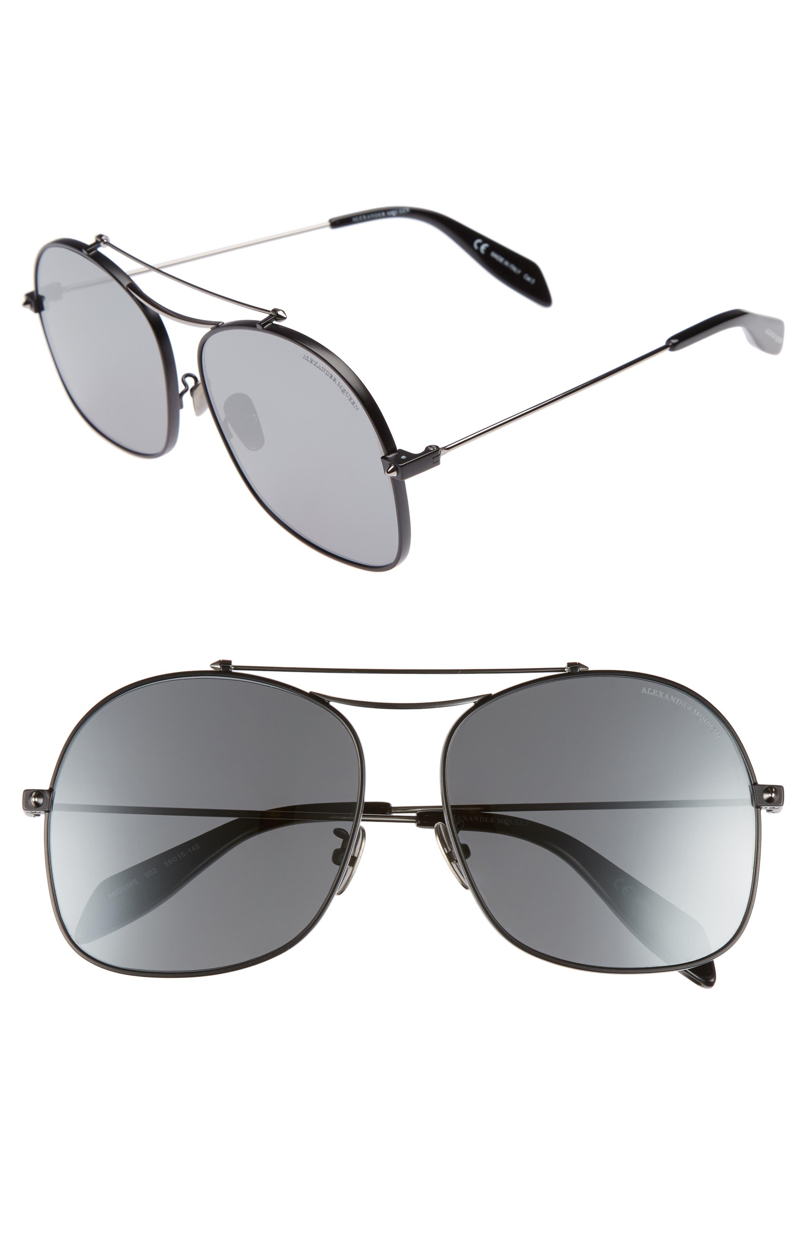 59mm Aviator Sunglasses,                         Main,                         color, Black