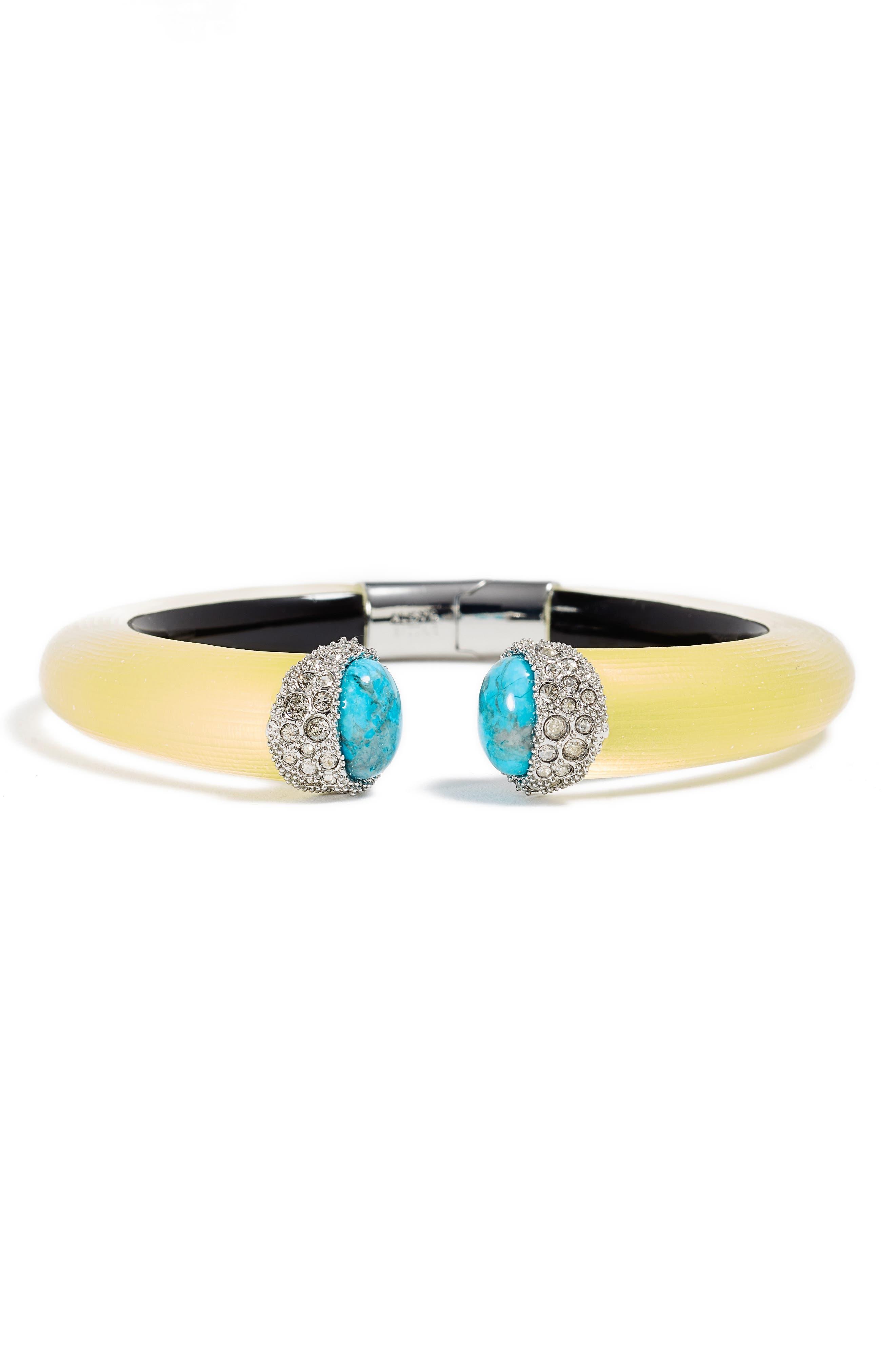 Encrusted Double Stone Lucite<sup>®</sup> Hinge Bracelet,                         Main,                         color, Titanium Yellow