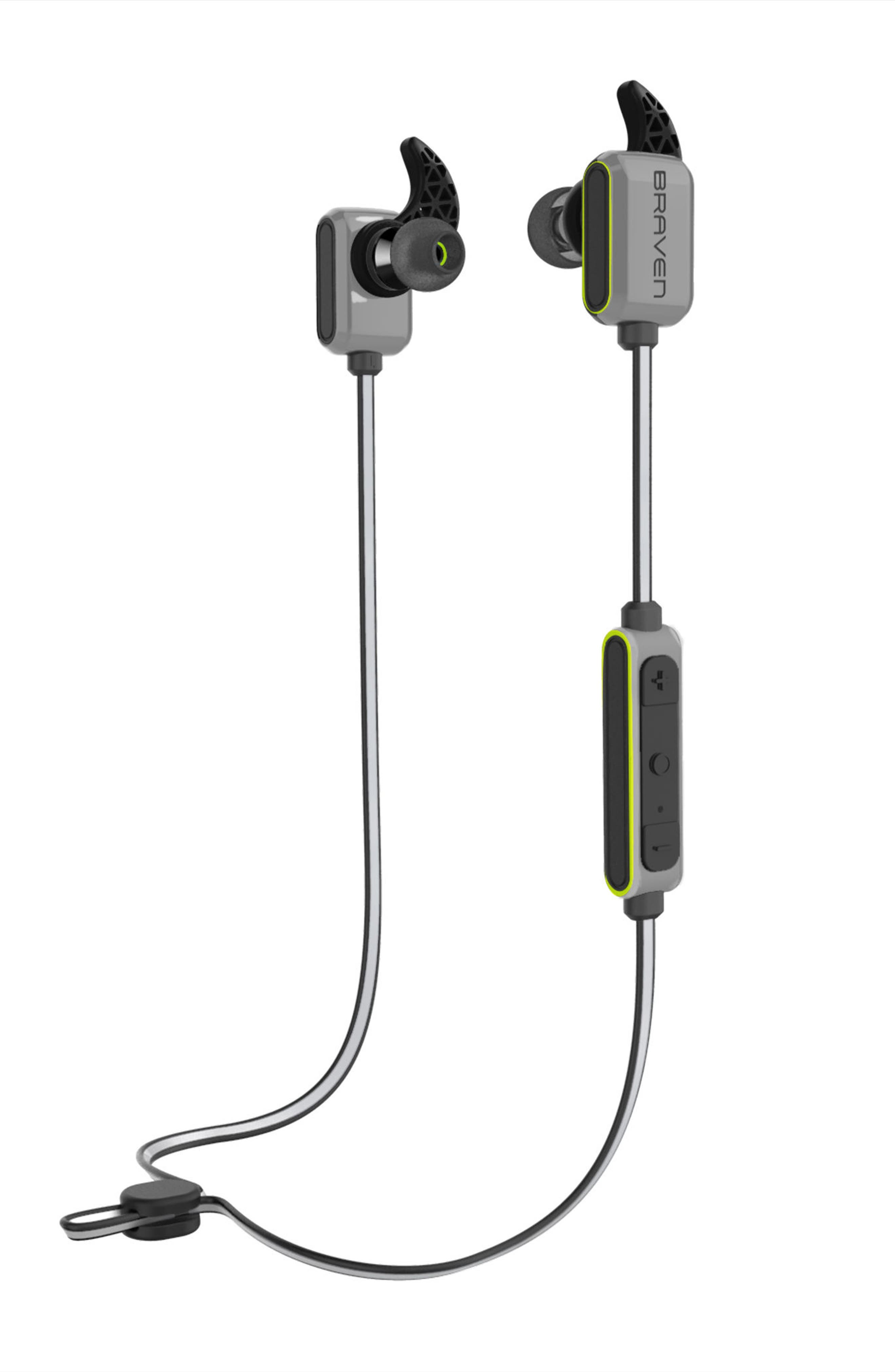 Flye Sport Bluetooth in-Ear Headphones,                             Main thumbnail 1, color,                             Silver/ Green