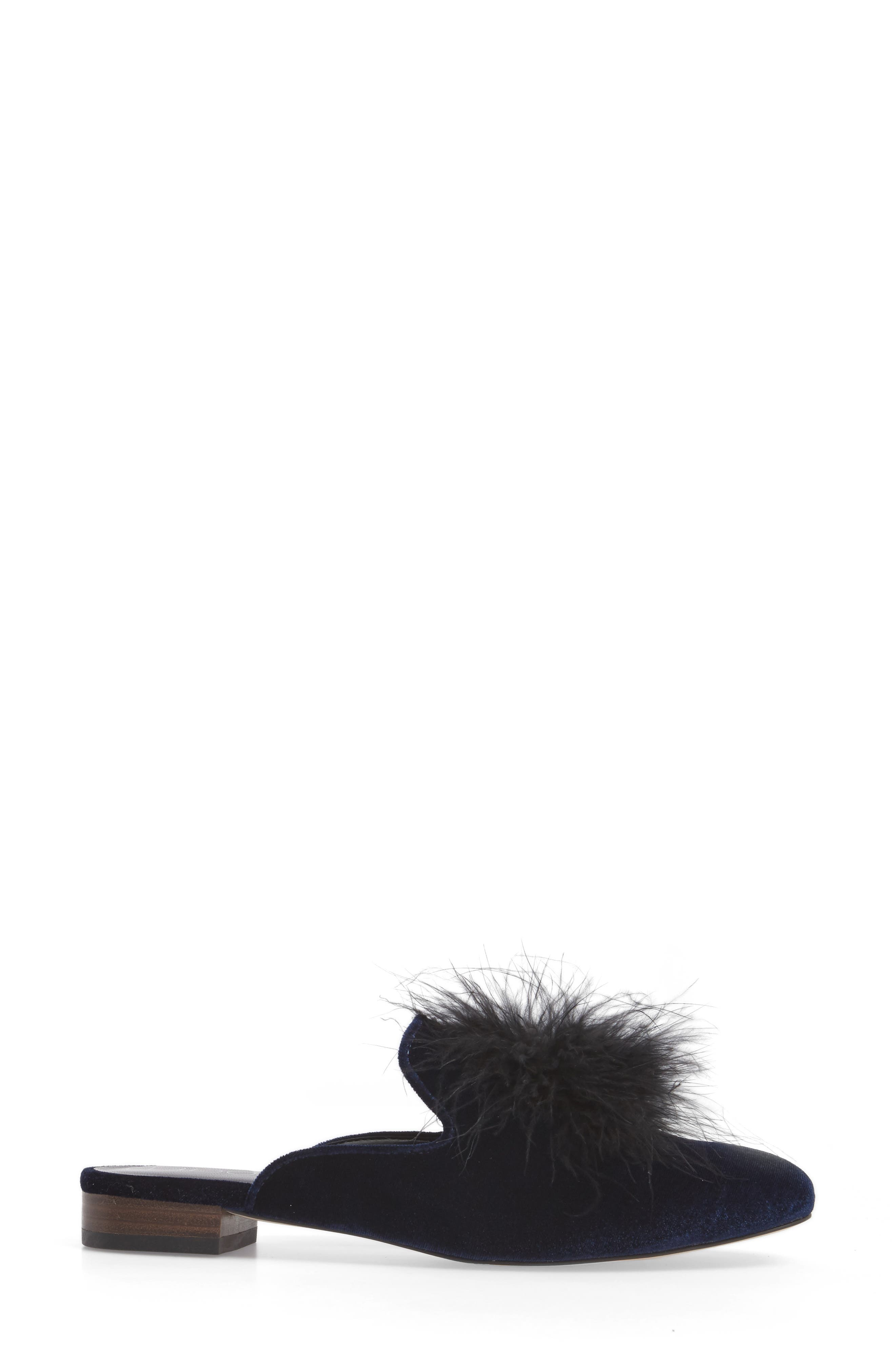 Cleona Feather Pompom Mule,                             Alternate thumbnail 3, color,                             Navy
