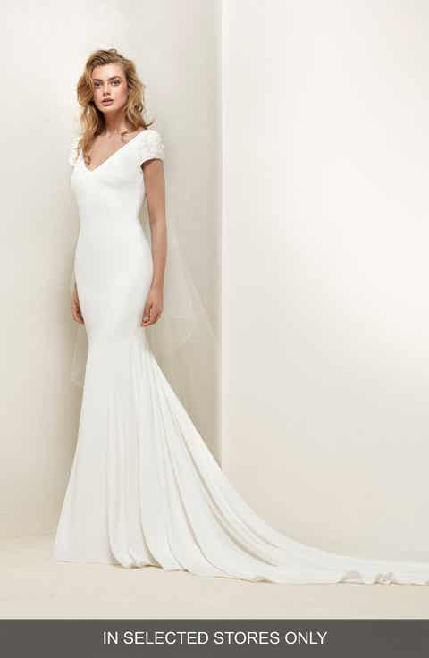 Pronovias Dralan Beaded Sleeve Crepe Tulle Mermaid Gown