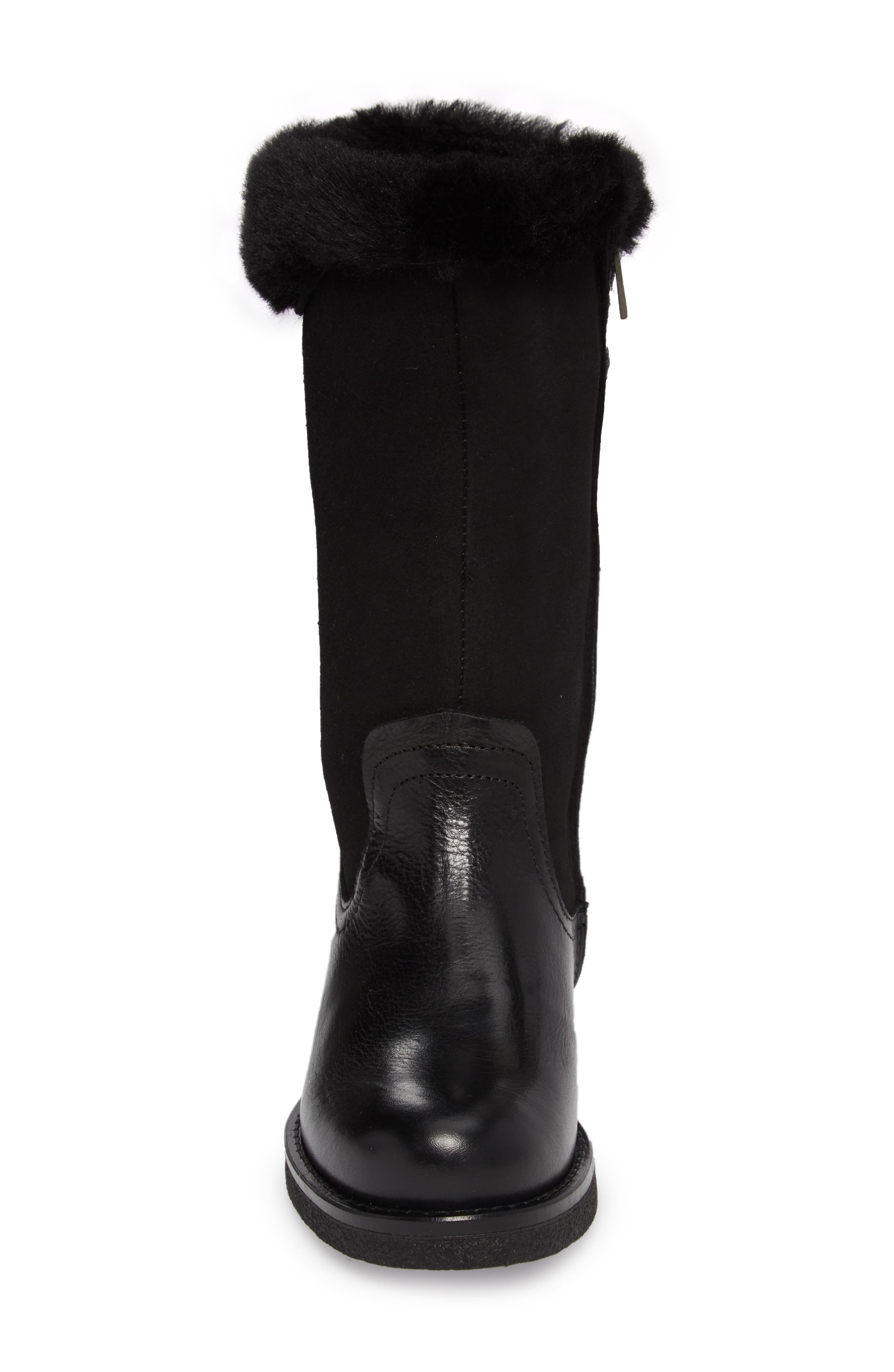 Amarillo Waterproof Insulated Snow Boot,                             Alternate thumbnail 4, color,                             Black Fur Leather