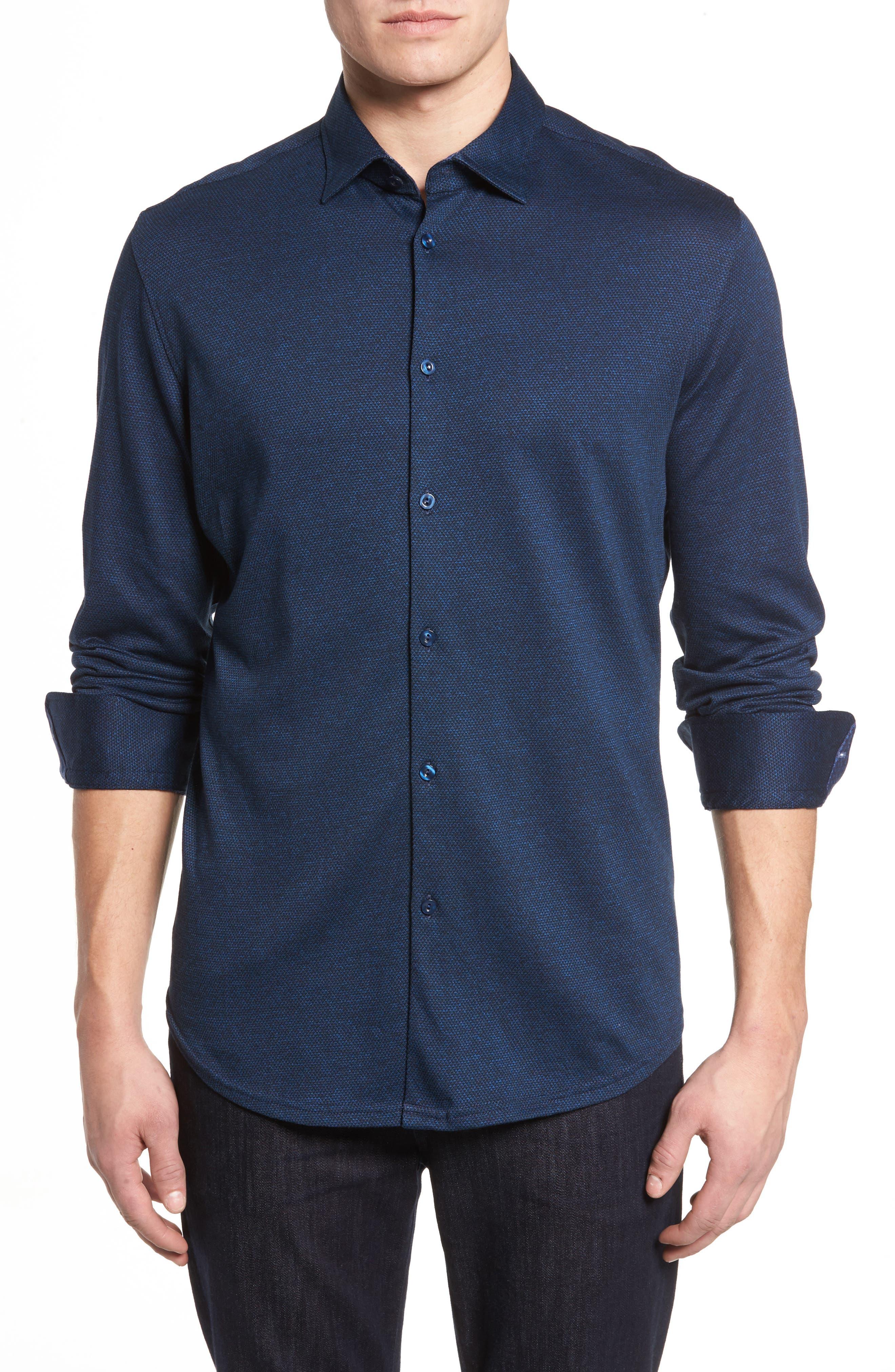 Slim Fit Diamond Jacquard Knit Sport Shirt,                         Main,                         color, Navy