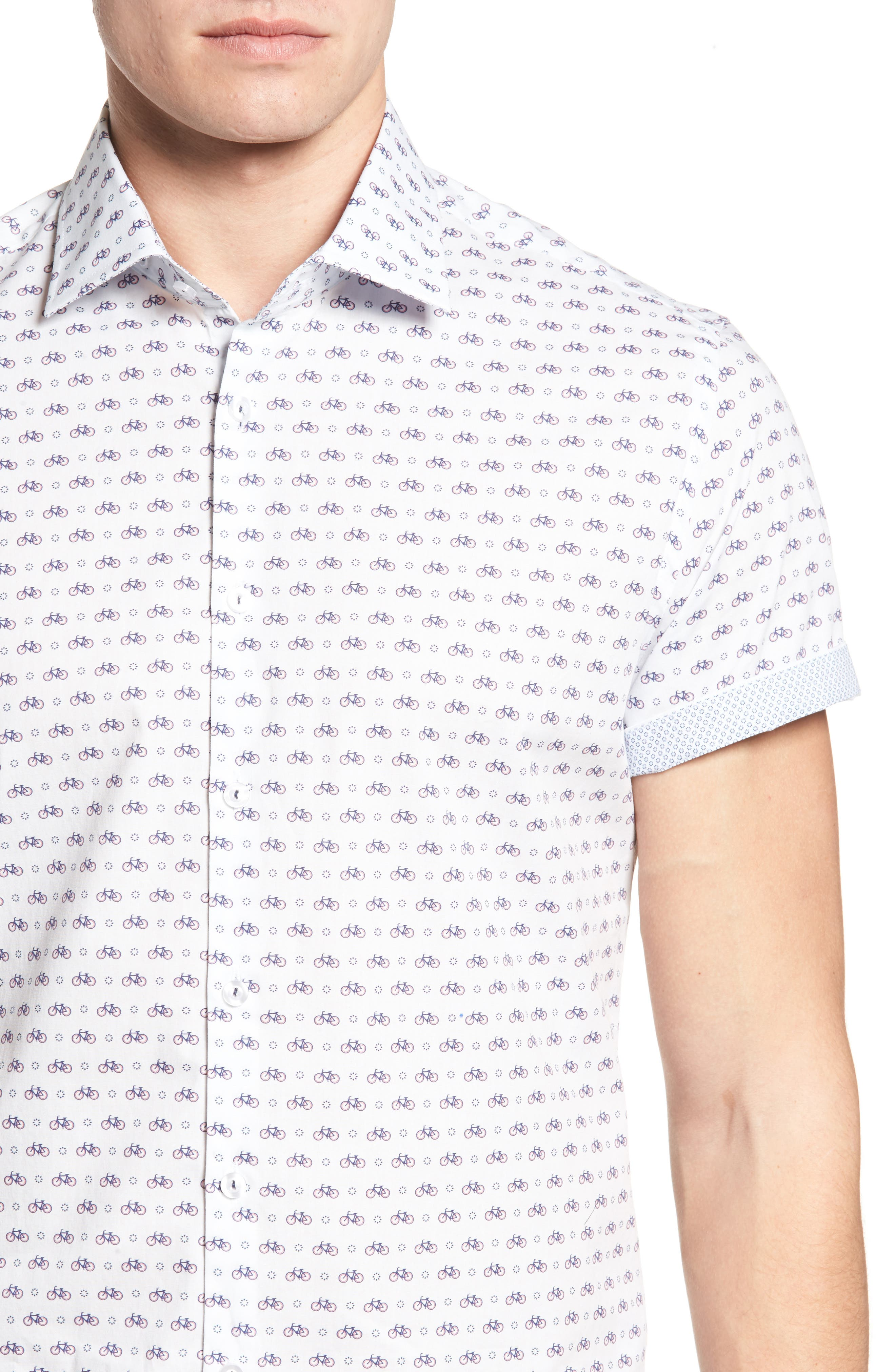 Slim Fit Bicycle Print Sport Shirt,                             Alternate thumbnail 4, color,                             White