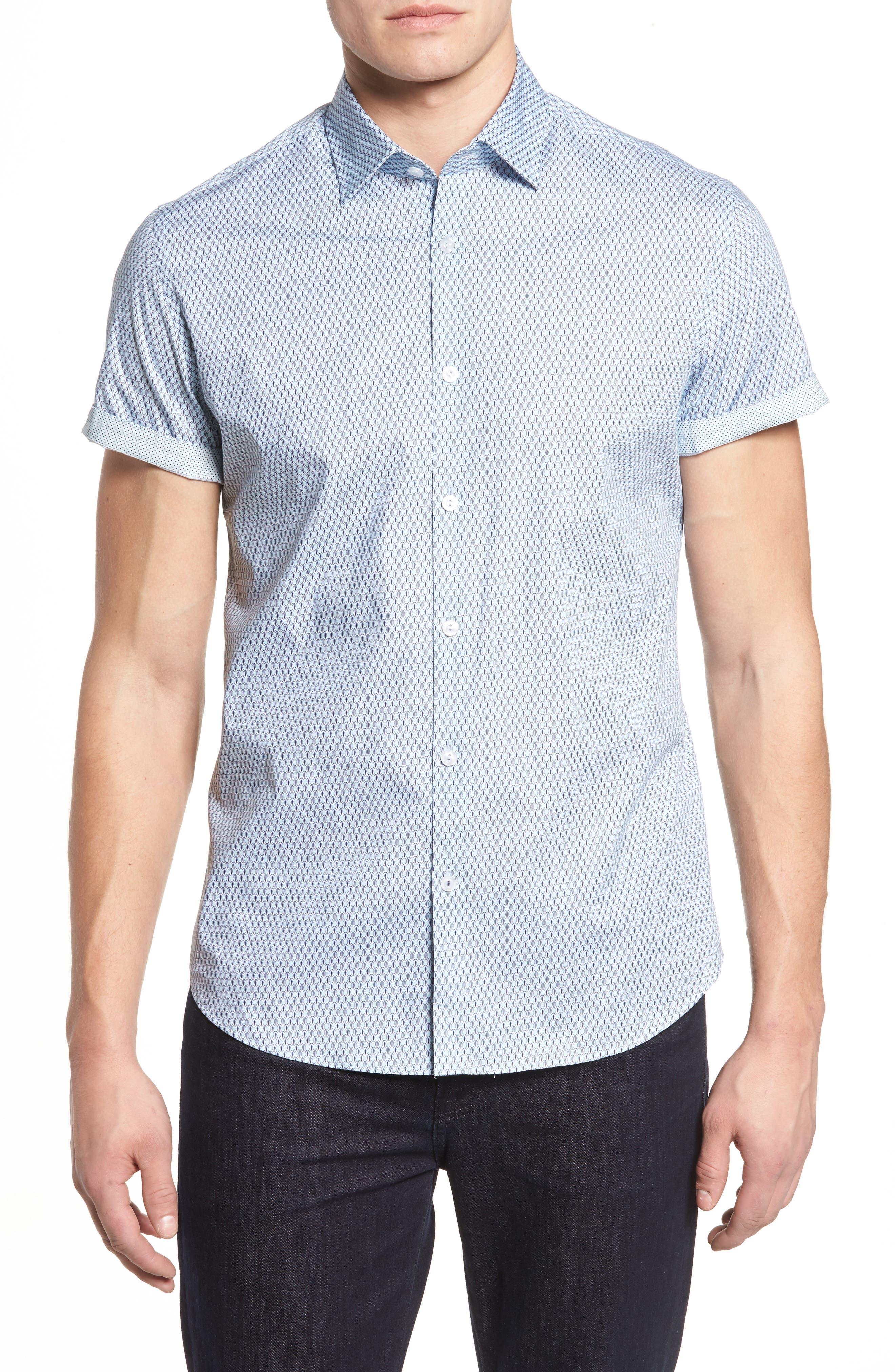 Slim Fit Tennis Racquet Print Sport Shirt,                         Main,                         color, Blue