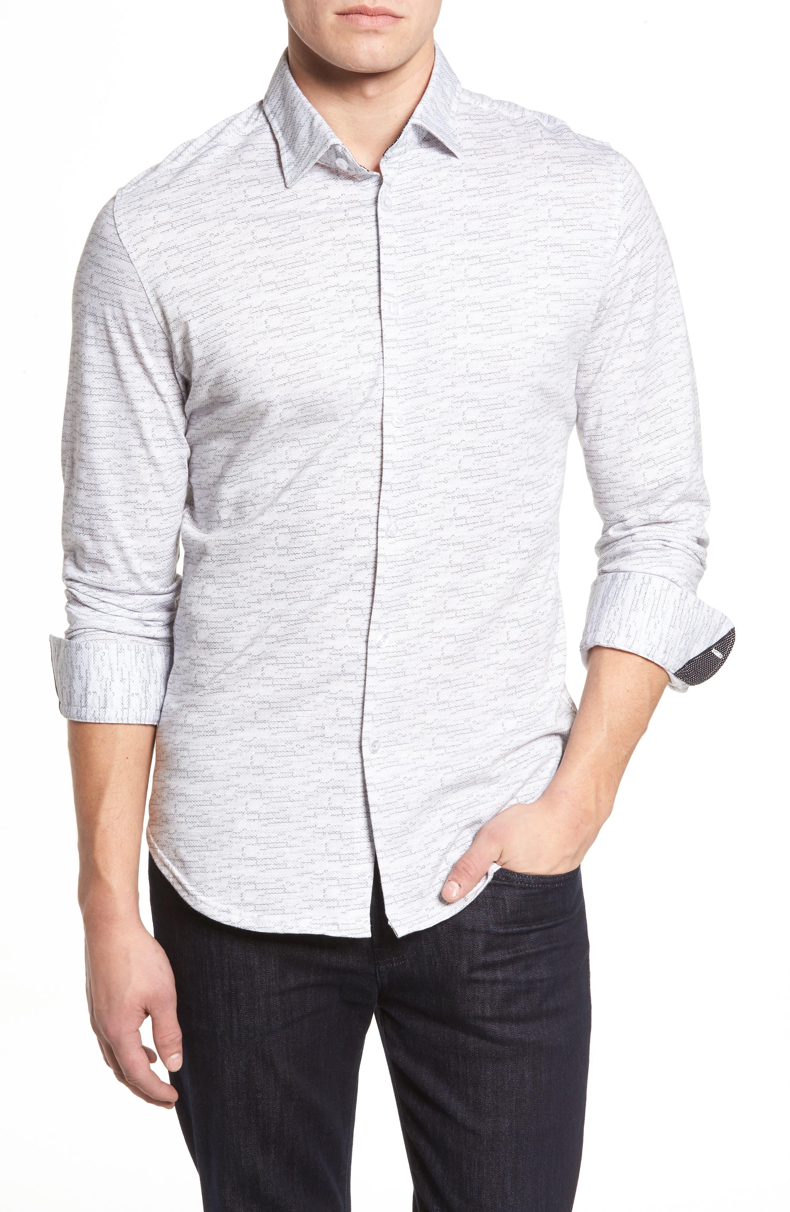 Stone Rose Slim Fit Mélange Print Knit Sport Shirt