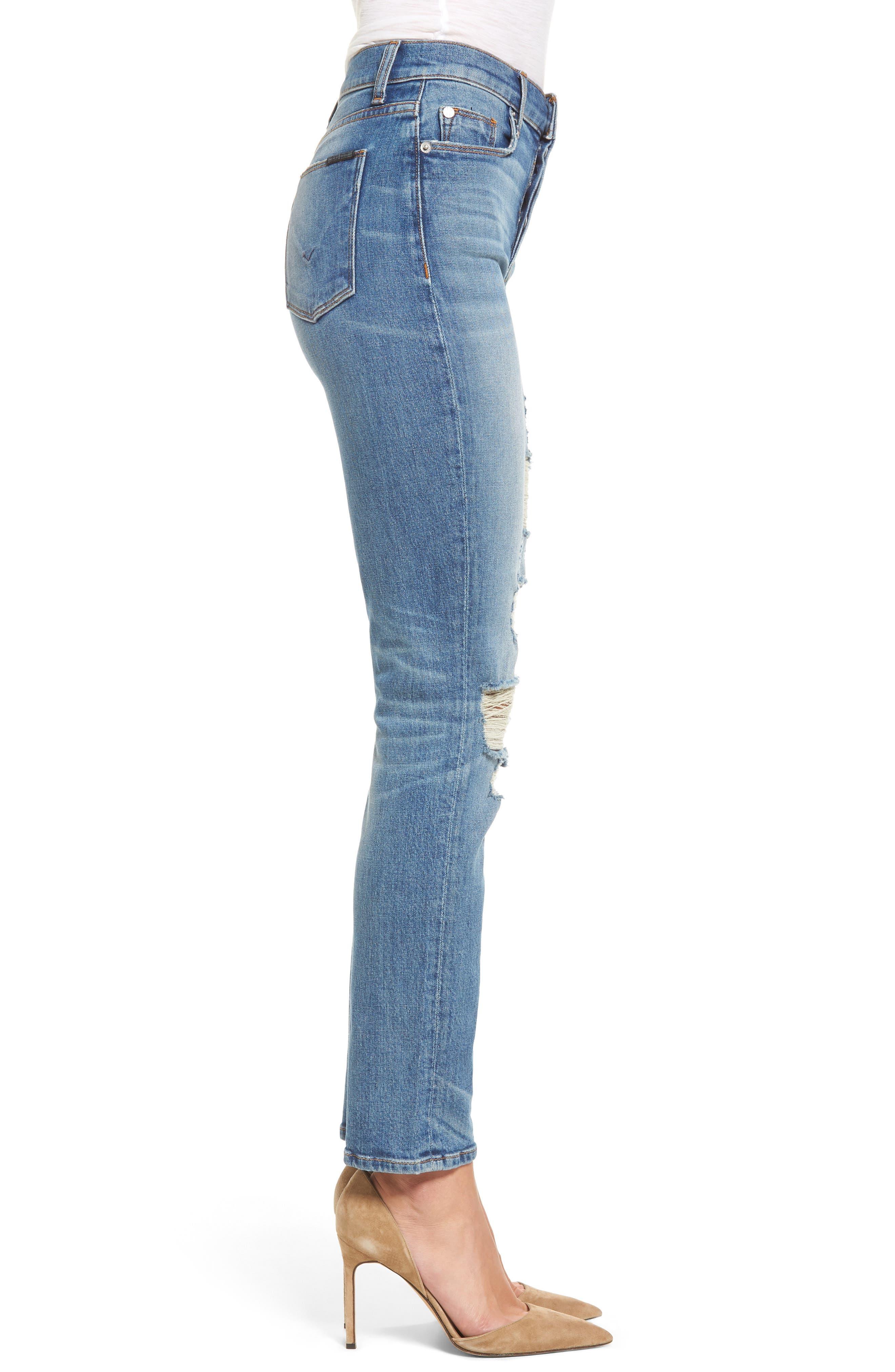 Zoeey High Waist Ankle Straight Leg Jeans,                             Alternate thumbnail 3, color,                             Kool
