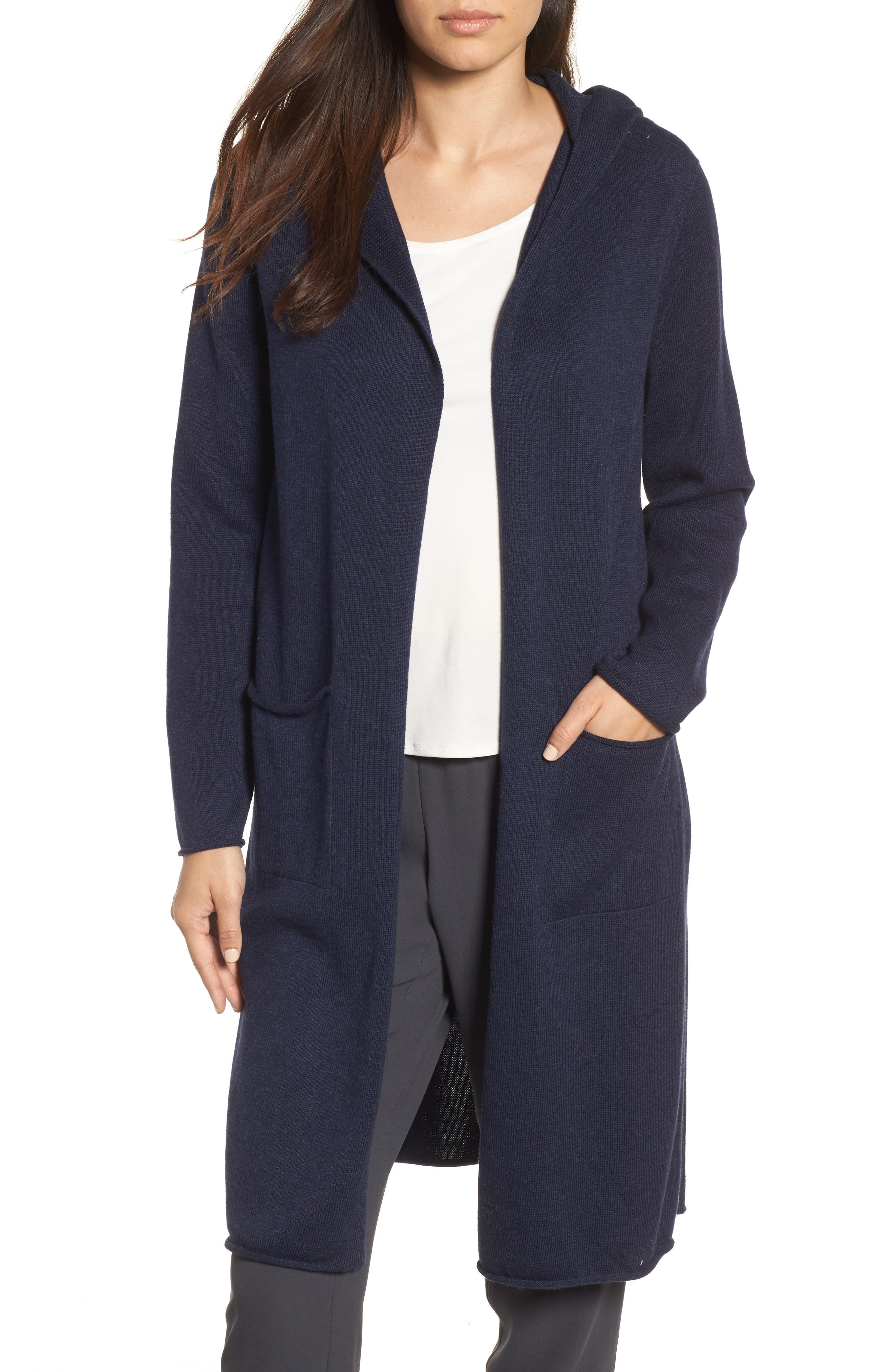 Eileen Fisher Organic Cotton Hooded Cardigan | Nordstrom