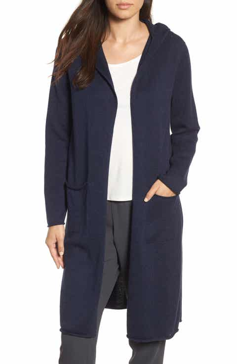 Eileen Fisher Organic Cotton Hooded Cardigan