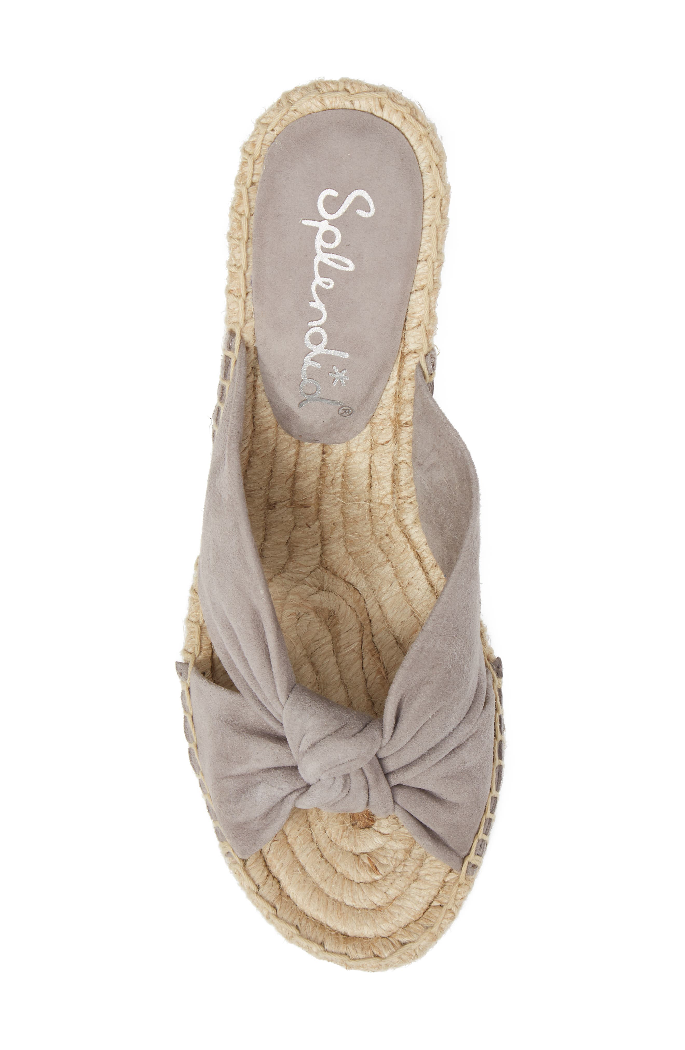 Bautista Knotted Wedge Sandal,                             Alternate thumbnail 4, color,                             Grey Suede