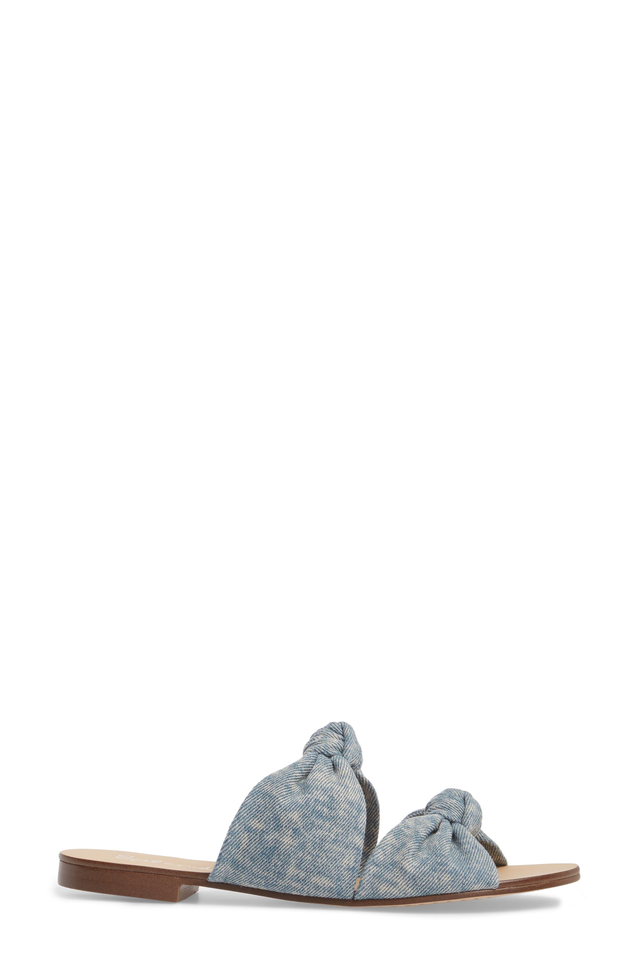 Barton Double Knotted Slide Sandal,                             Alternate thumbnail 3, color,                             Jean Fabric