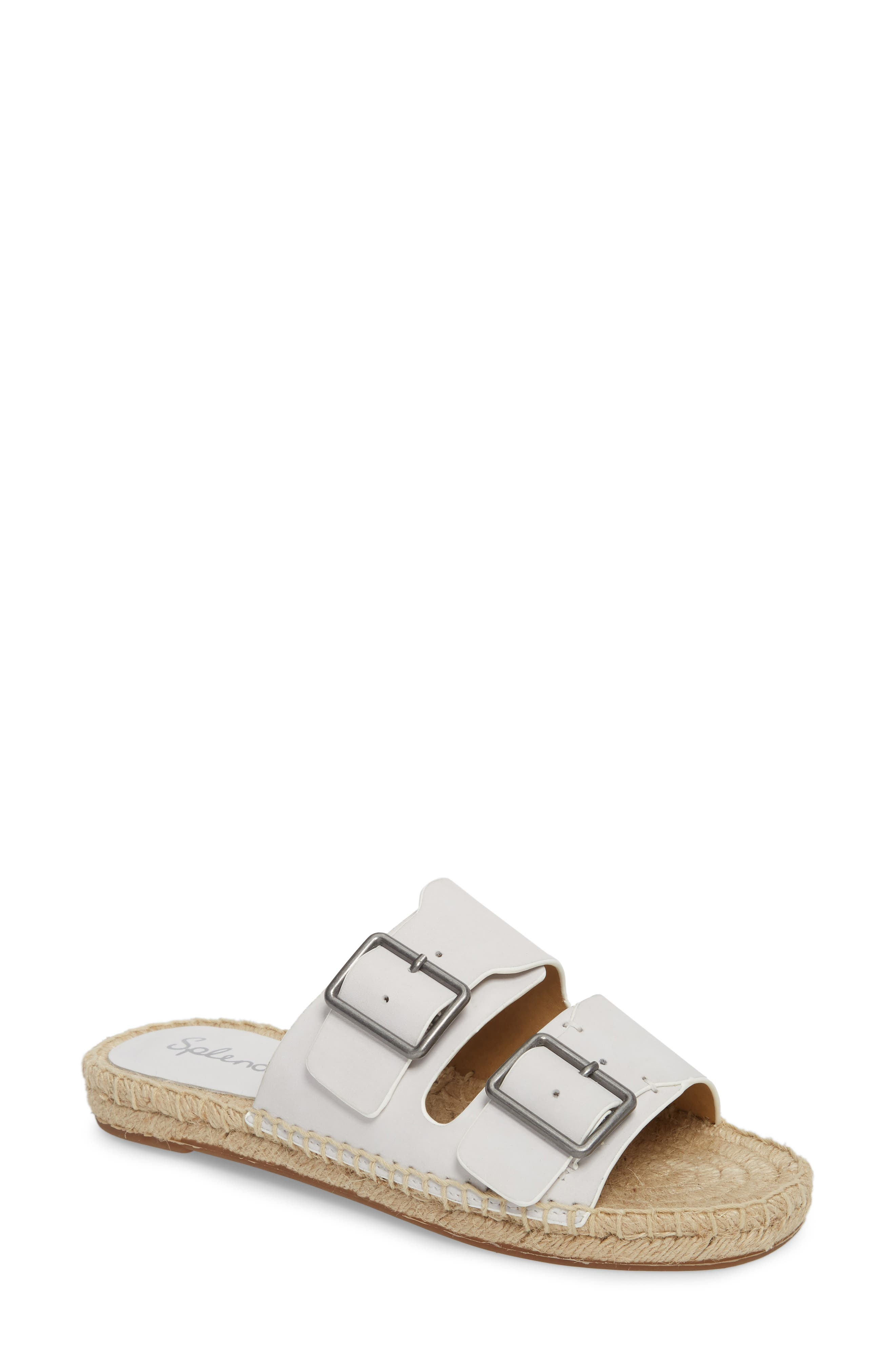 Blake Buckle Espadrille Sandal,                         Main,                         color, White Leather