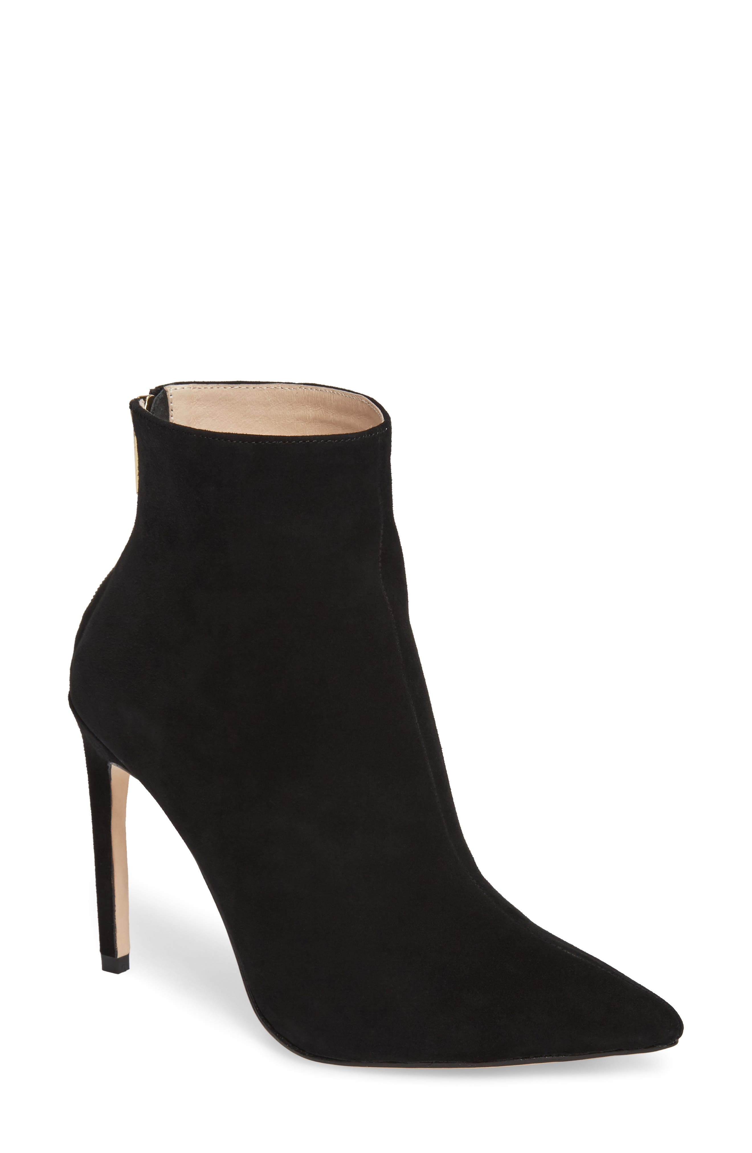 Tati Pointy Toe Bootie,                             Main thumbnail 1, color,                             Black Suede