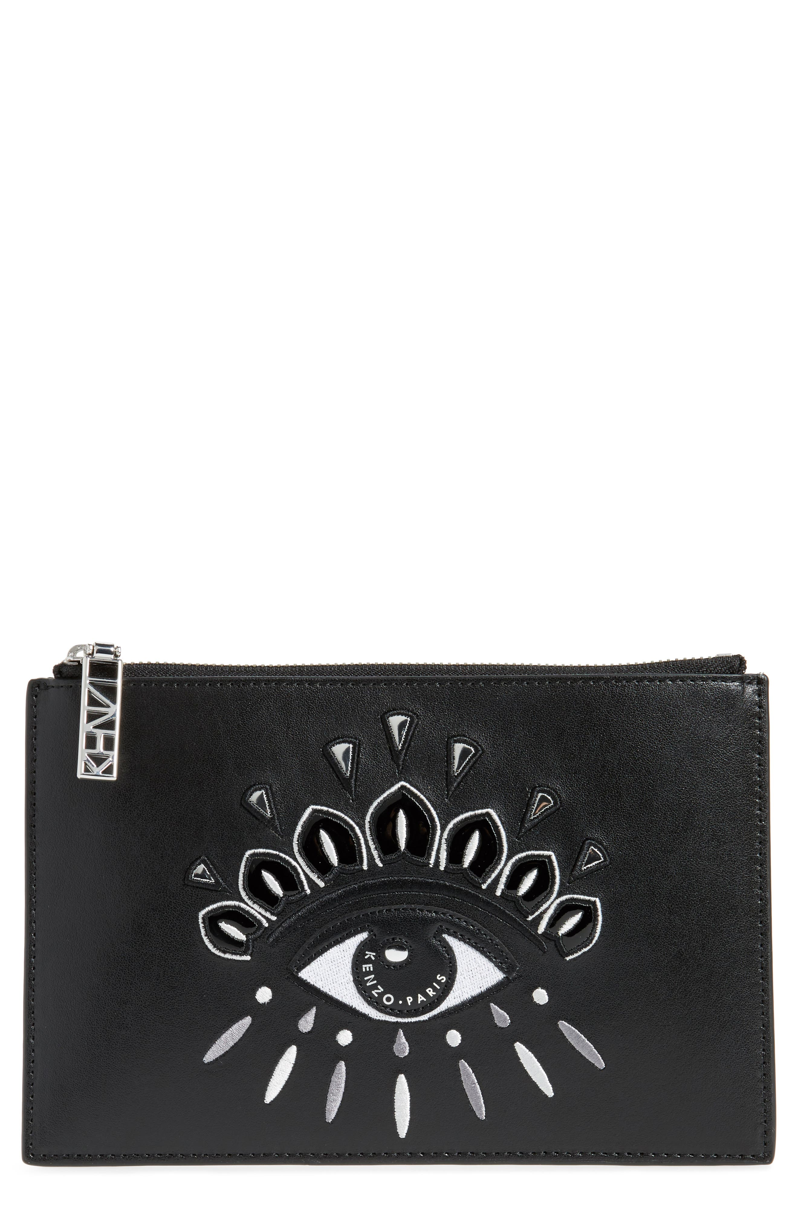 KENZO Eye Embroidery Leather Pouch