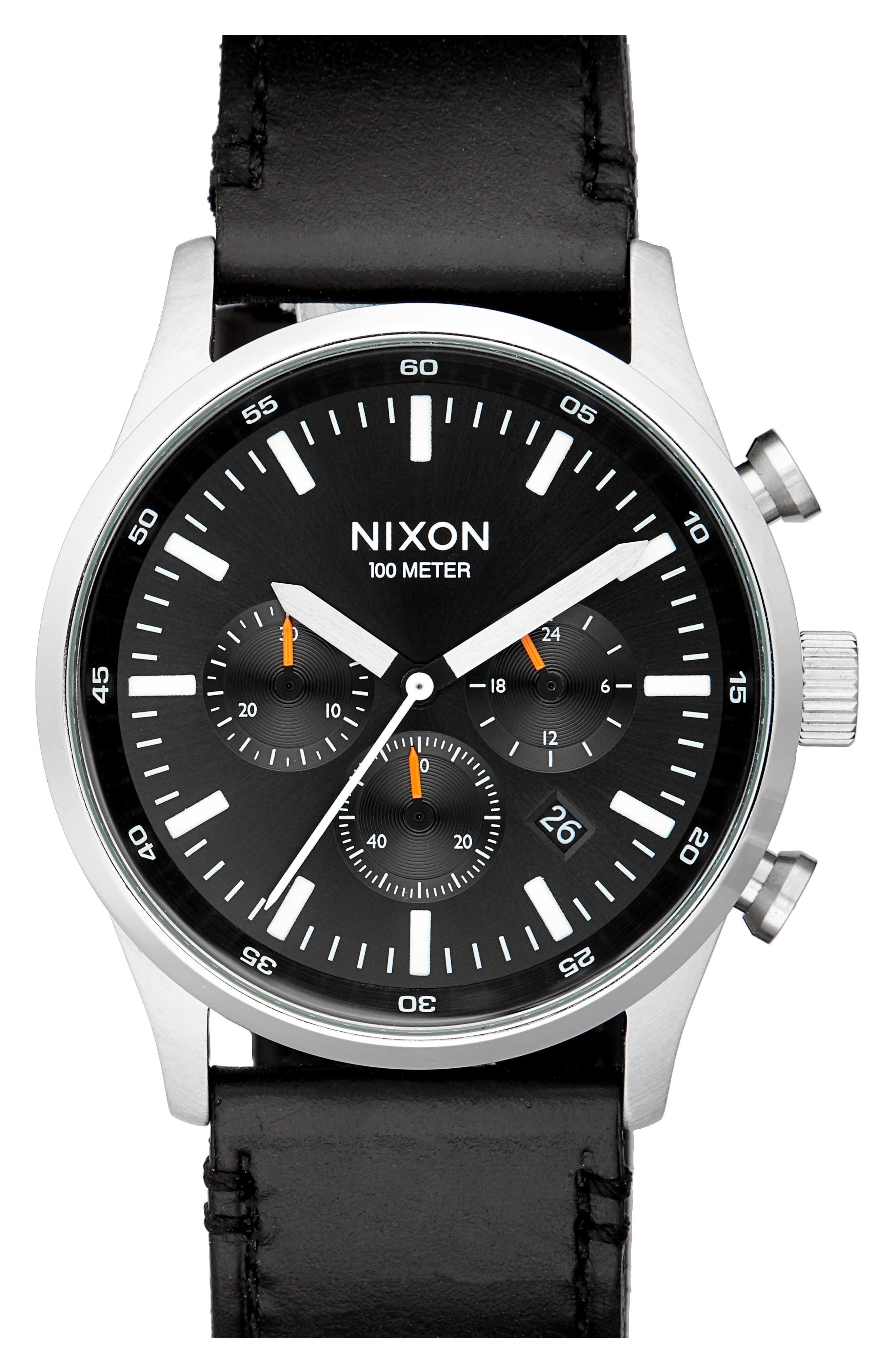 Main Image - Nixon Freemont Chronograph Leather Strap Watch, 42mm