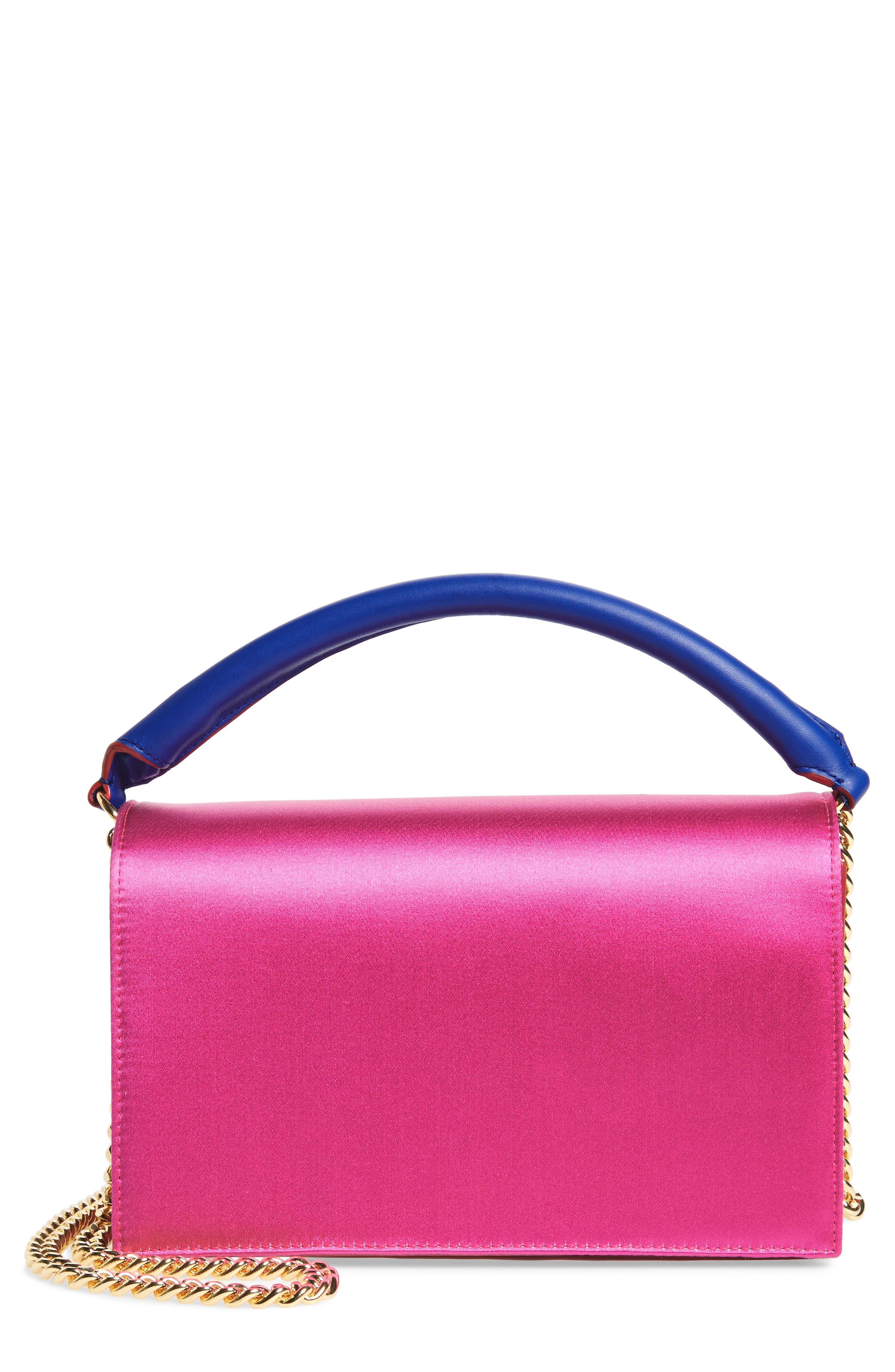Soirée Satin & Leather Top Handle Bag,                             Alternate thumbnail 3, color,                             Pink