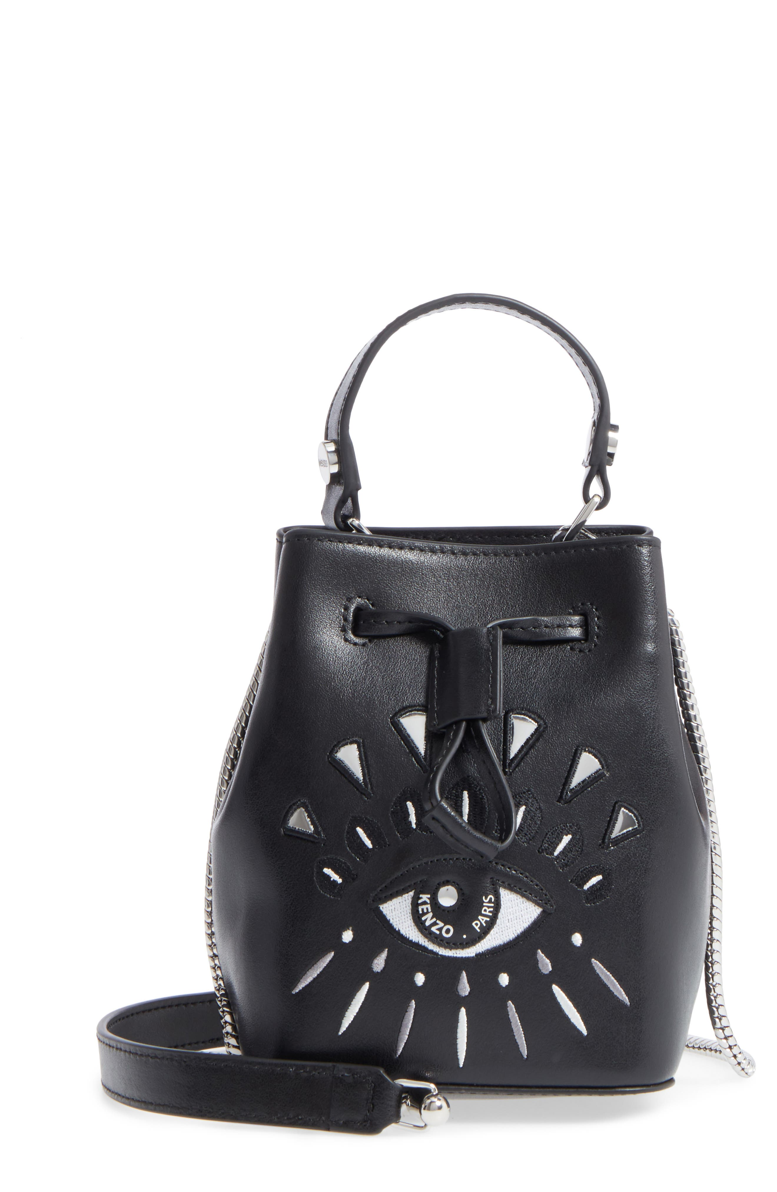 KENZO Mini Eye Embroidery Leather Bucket Bag
