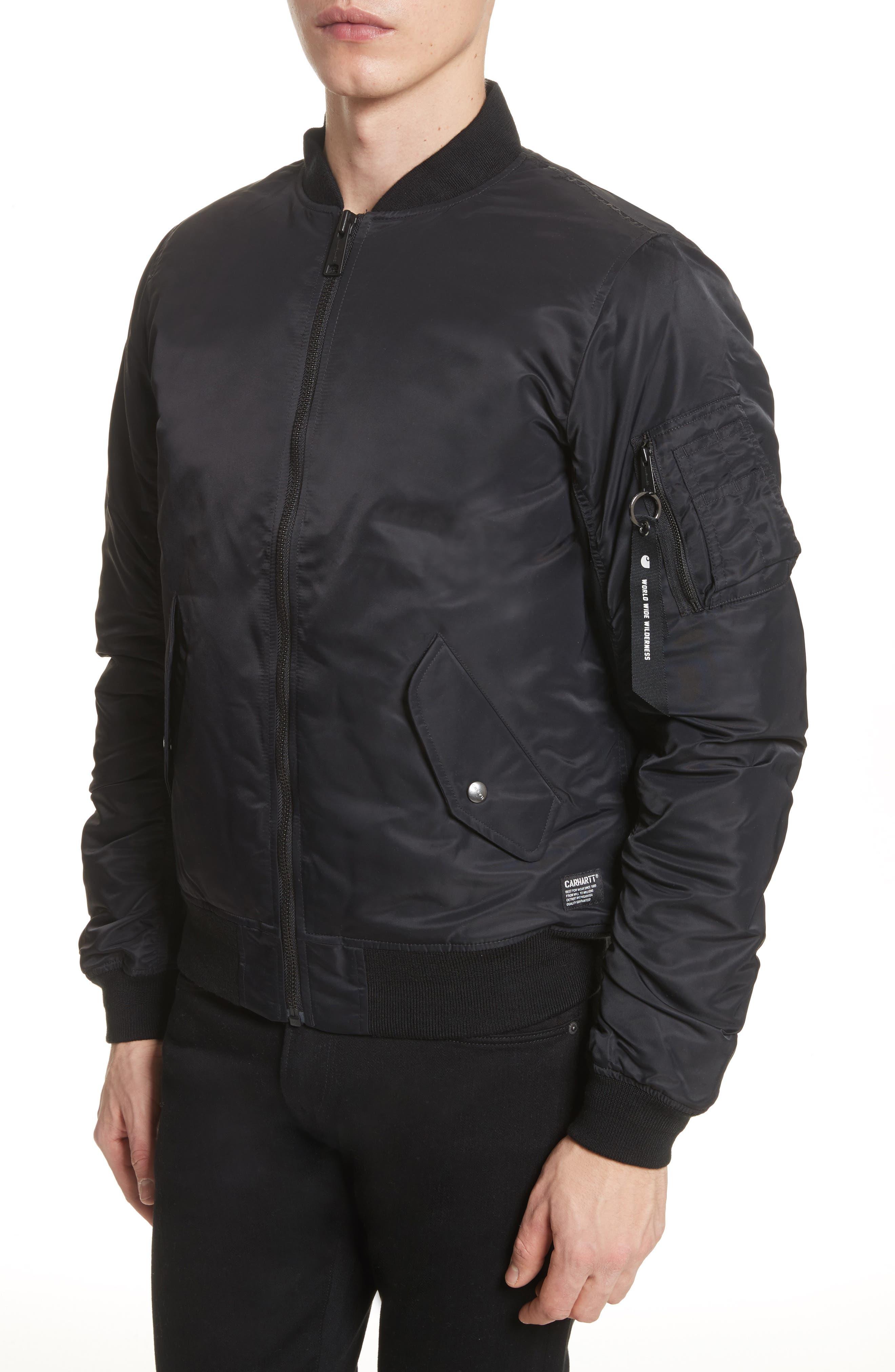 Ashton Bomber Jacket,                             Alternate thumbnail 4, color,                             Black/ Black