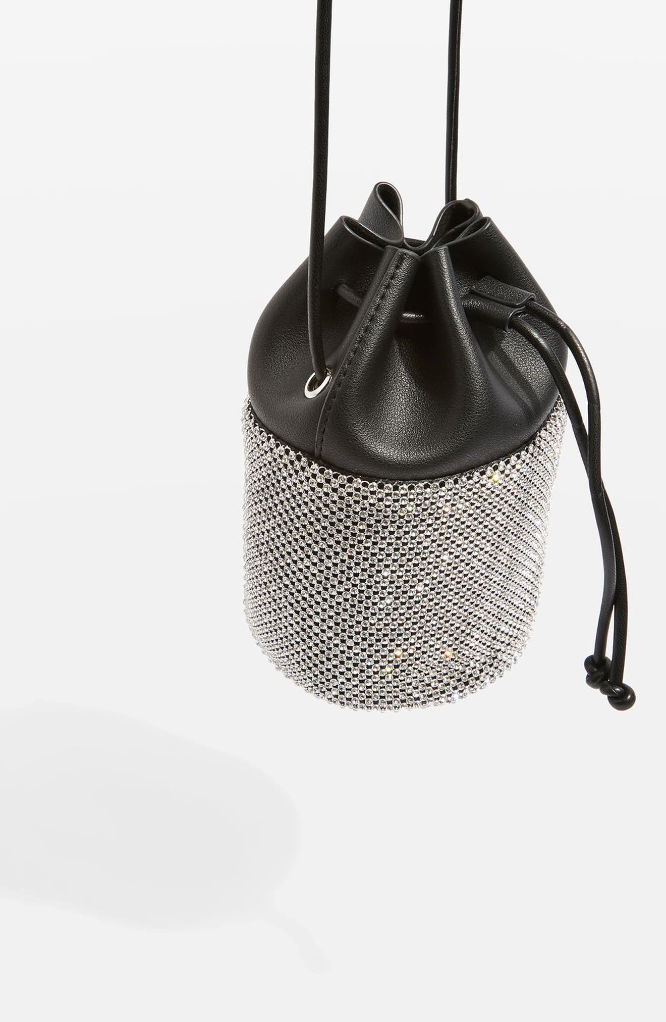 Alternate Image 4  - Topshop Ruben Diamante Faux Leather Bucket Crossbody Bag