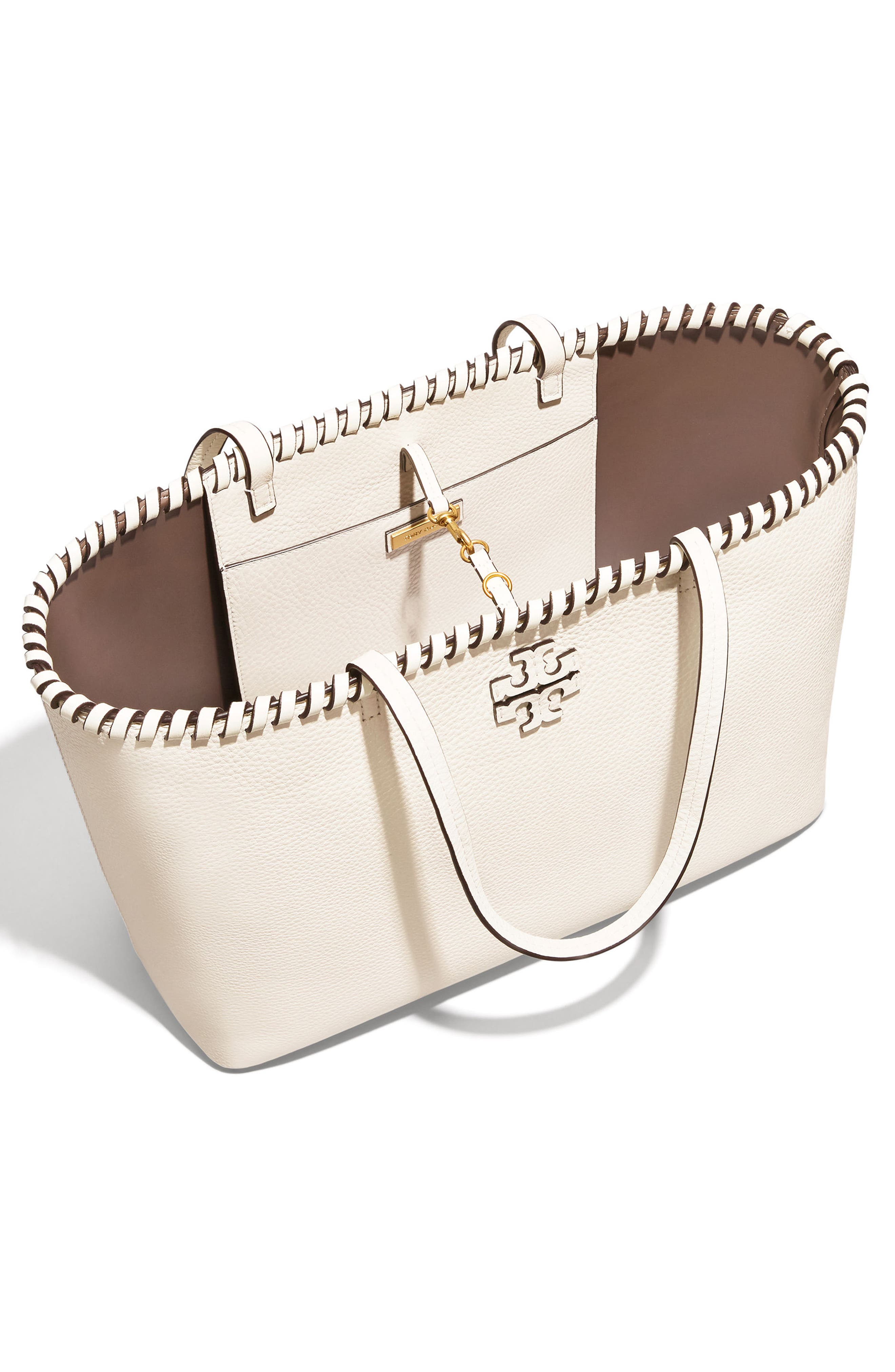 McGraw Whipstitch Leather Tote,                             Alternate thumbnail 3, color,                             New Ivory
