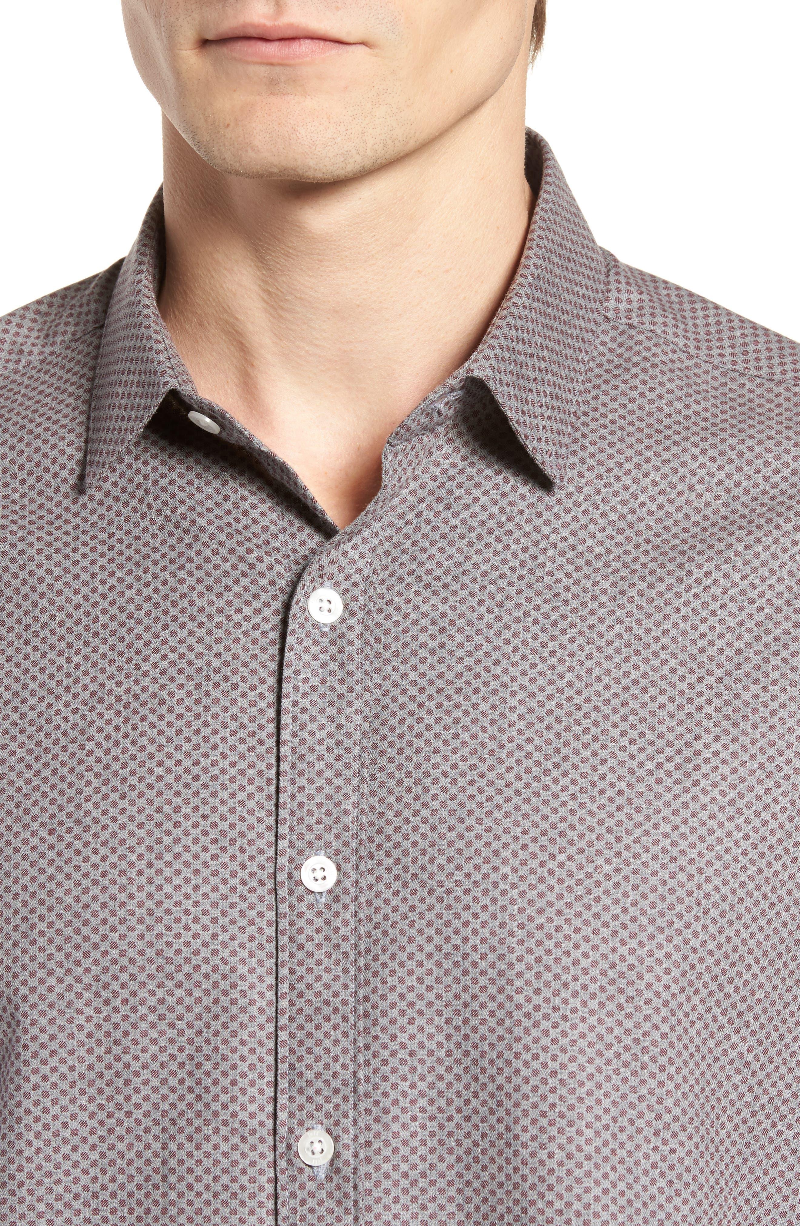 Ludlow Slim Fit Flannel Sport Shirt,                             Alternate thumbnail 4, color,                             Grey
