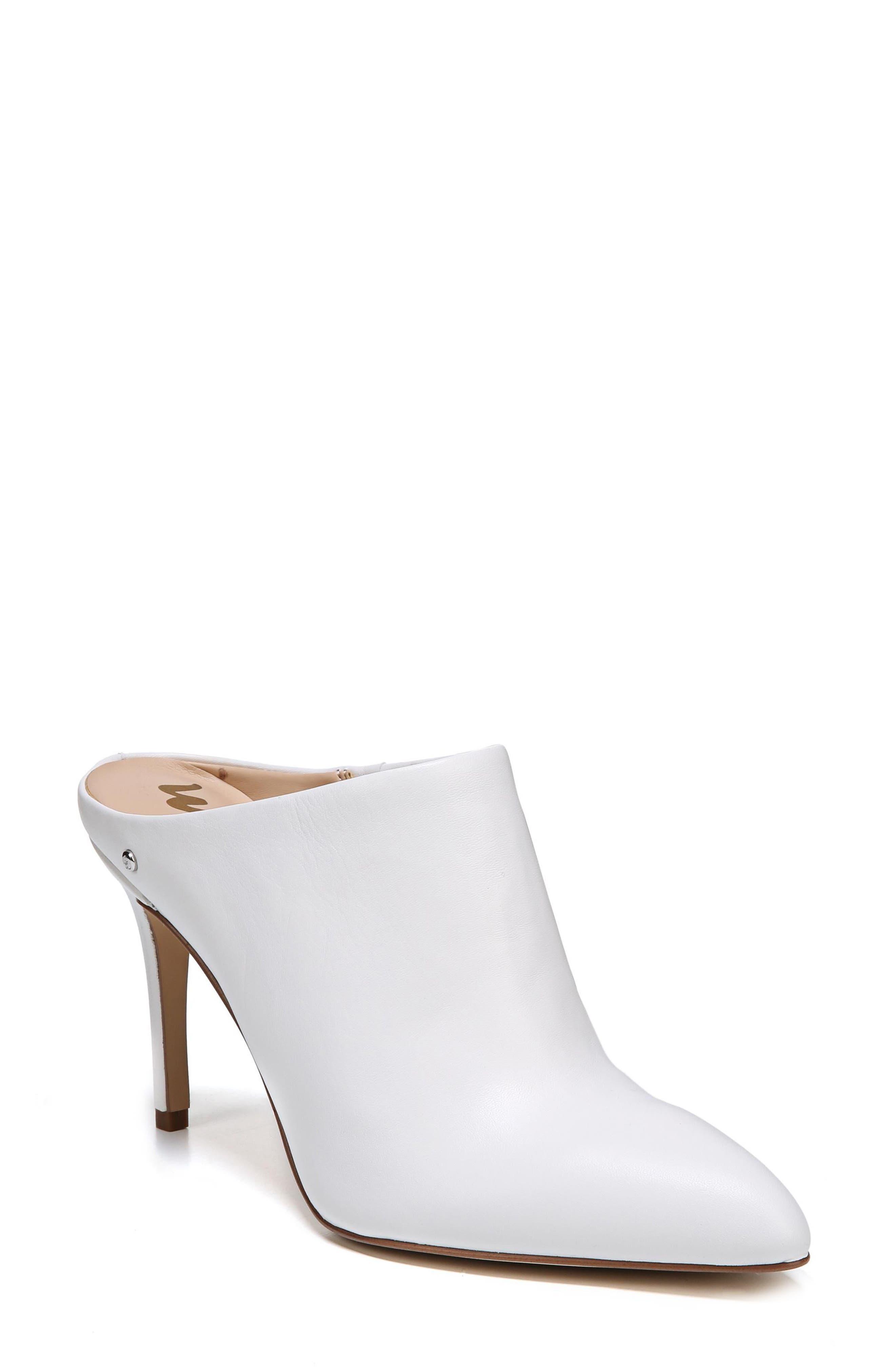 Oran Mule,                             Main thumbnail 1, color,                             Bright White Nappa Leather