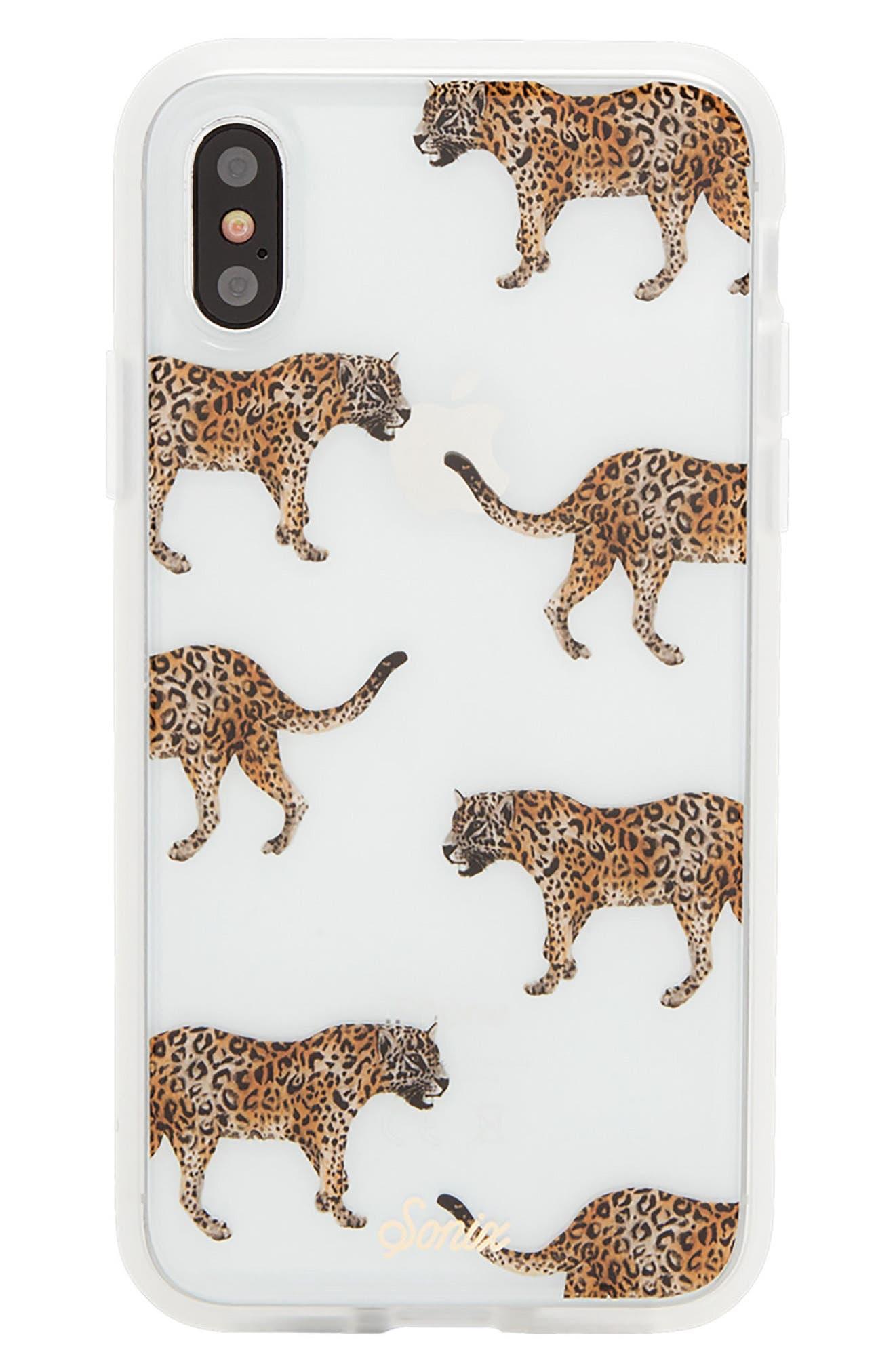 Deco Leopard iPhone X Case,                             Main thumbnail 1, color,                             Brown/ Black