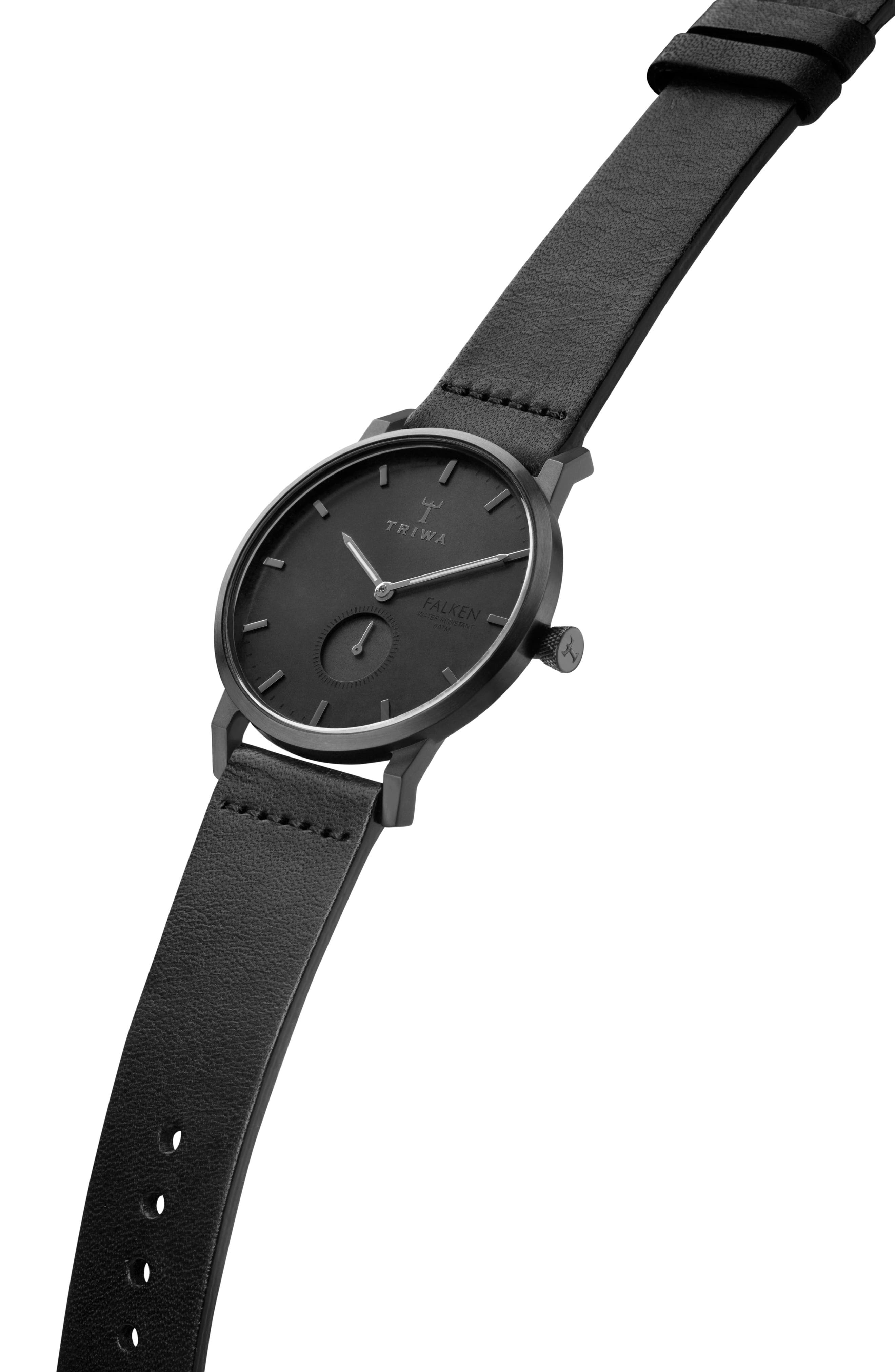 Midnight Falken Leather Strap Watch, 38mm,                             Alternate thumbnail 2, color,                             Black