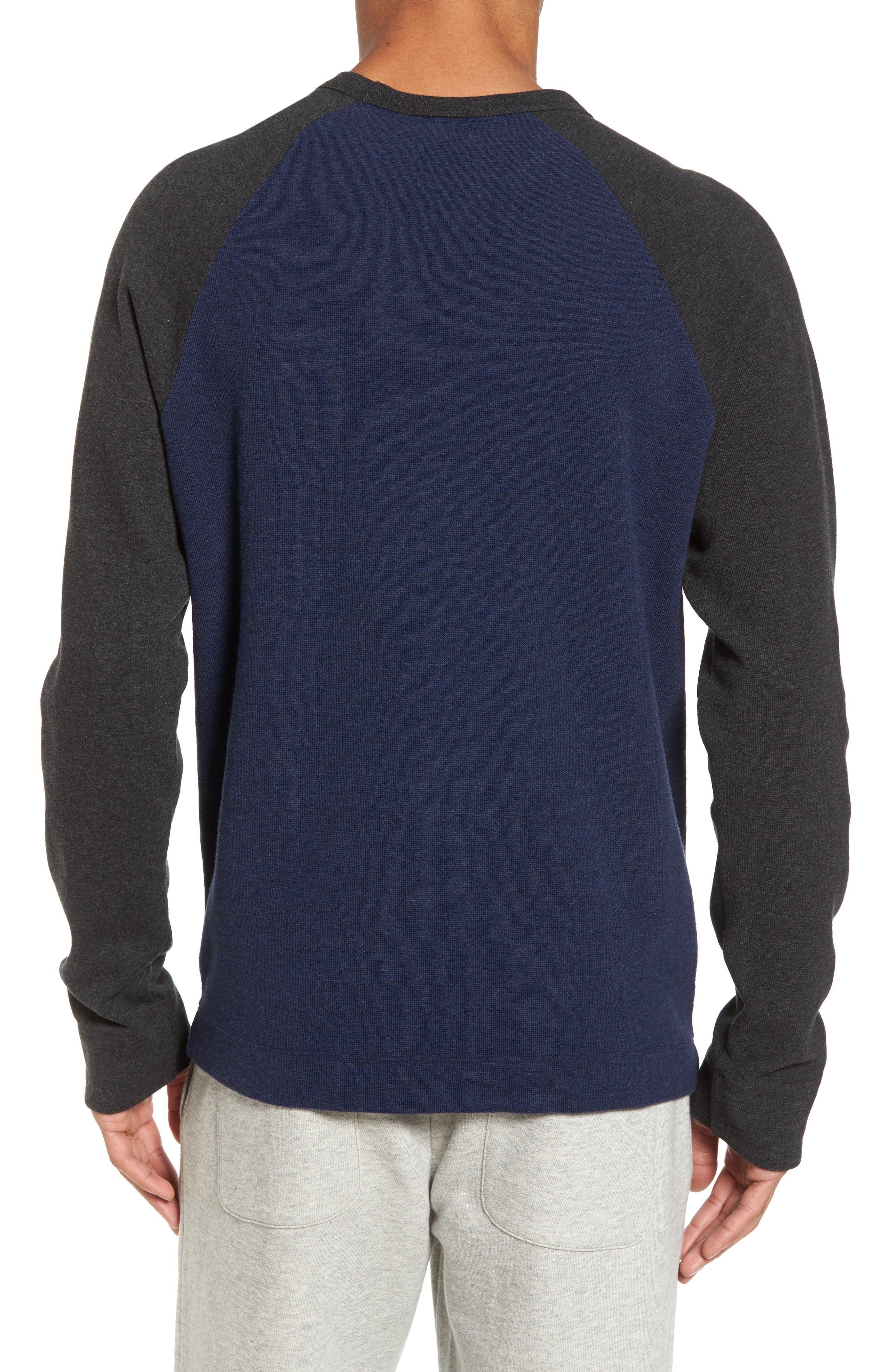 Thermal Knit Raglan Sweatshirt,                             Alternate thumbnail 2, color,                             Heather Navy/ Heather Charcoal