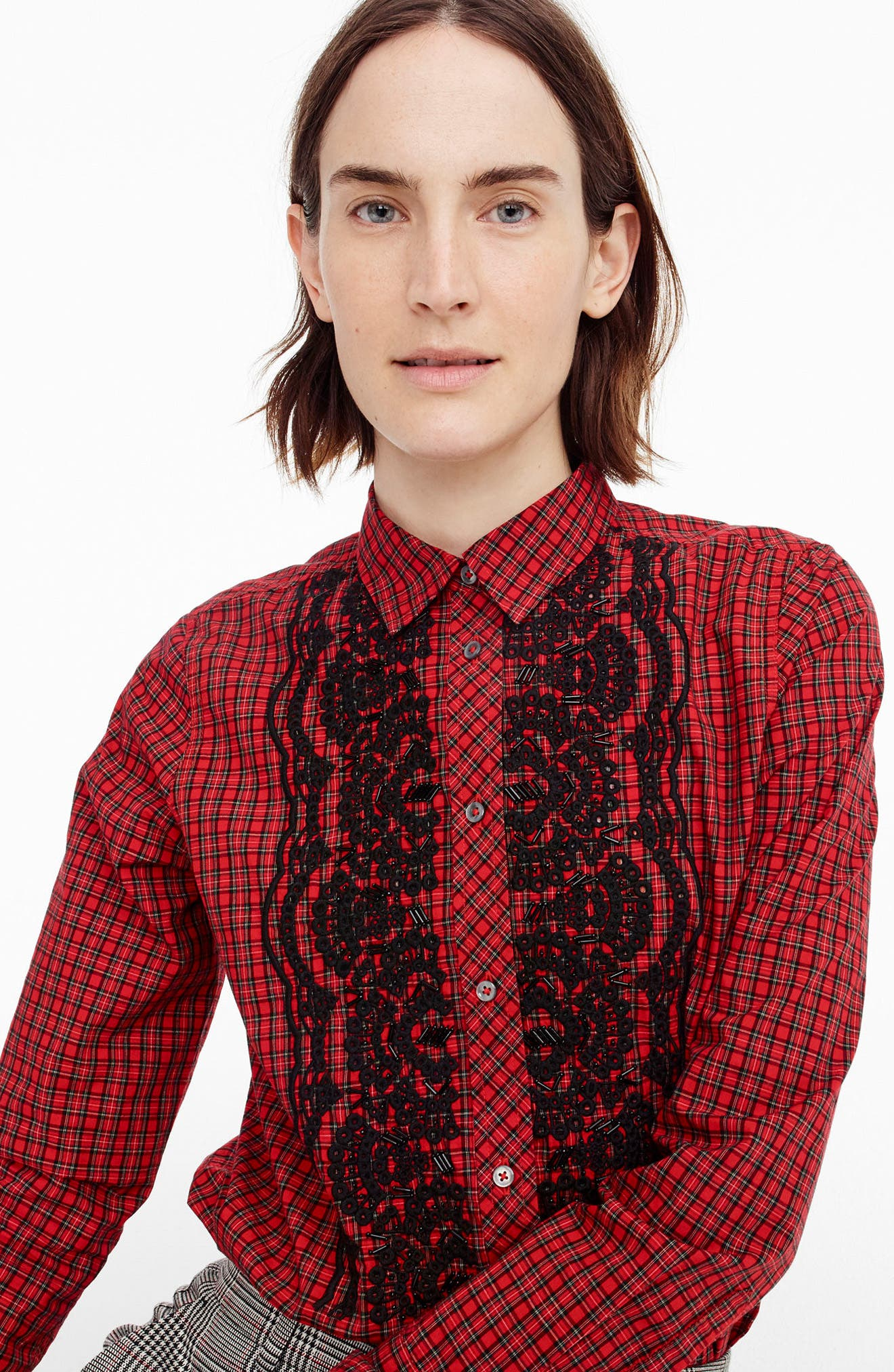 J.Crew Embellished Plaid Boy Shirt,                             Alternate thumbnail 2, color,                             Fiery Red