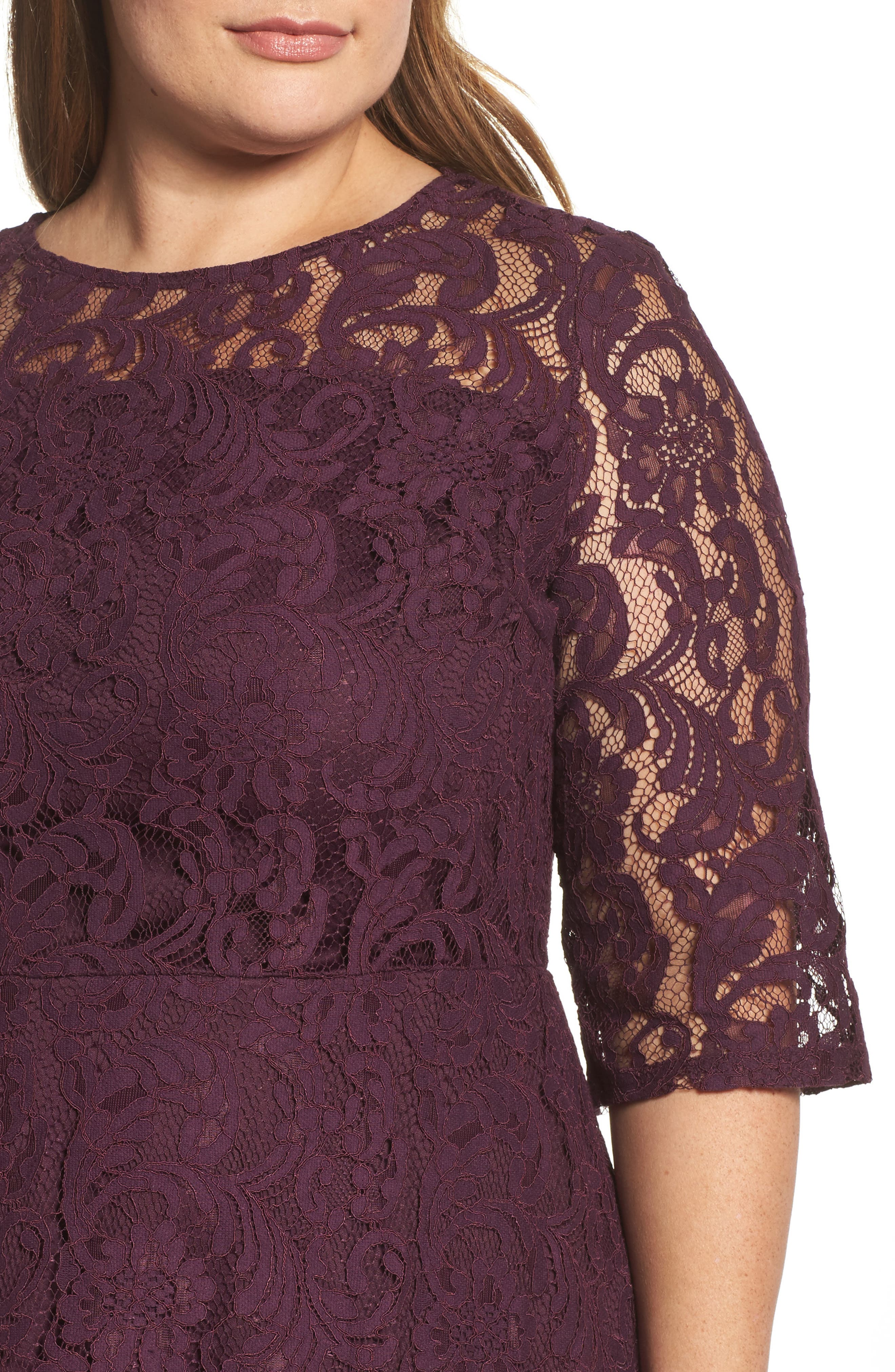 Lace Fit & Flare Dress,                             Alternate thumbnail 4, color,                             Burgundy