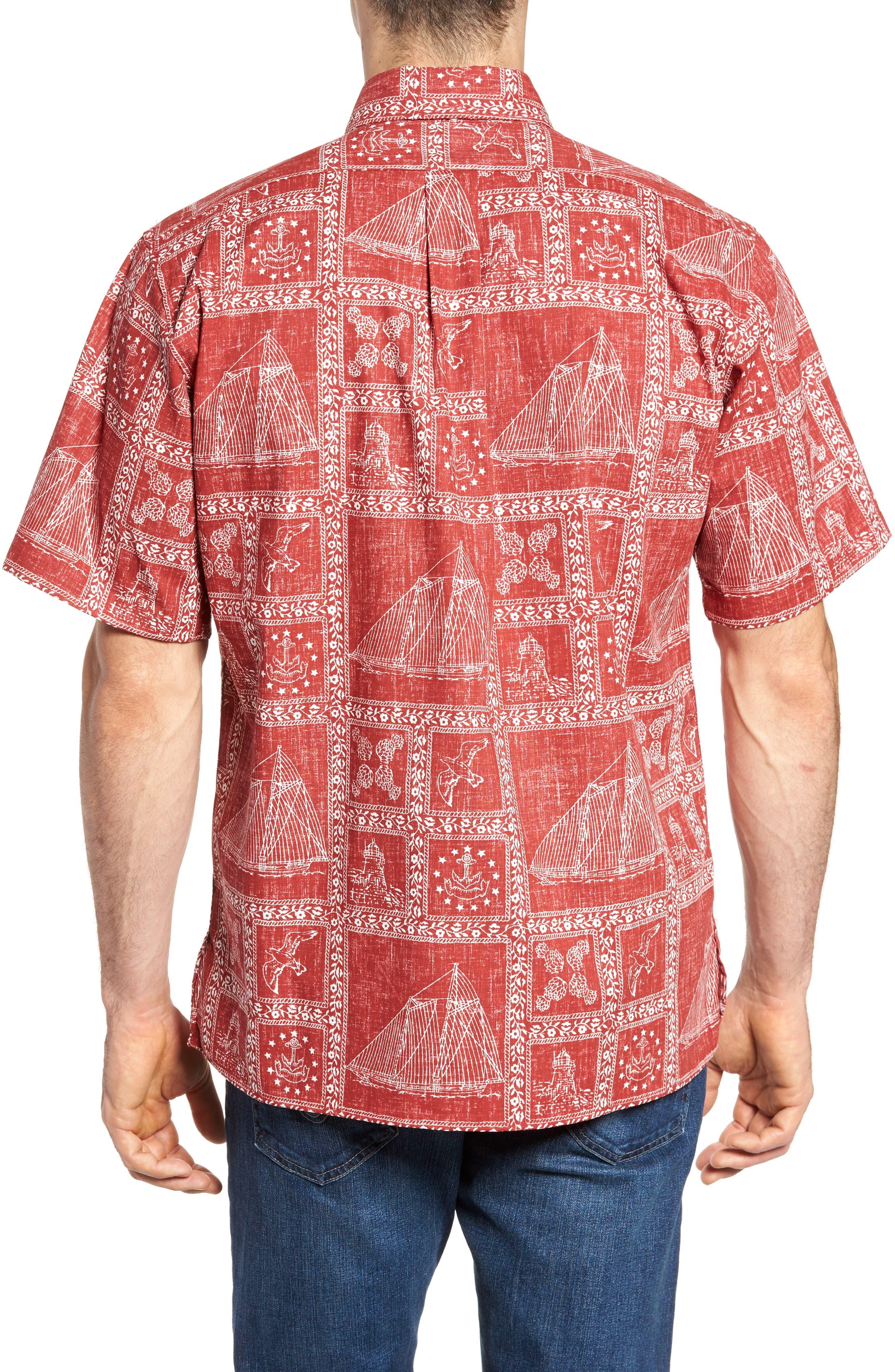 Newport Sailor Classic Fit Print Sport Shirt,                             Alternate thumbnail 2, color,                             Red