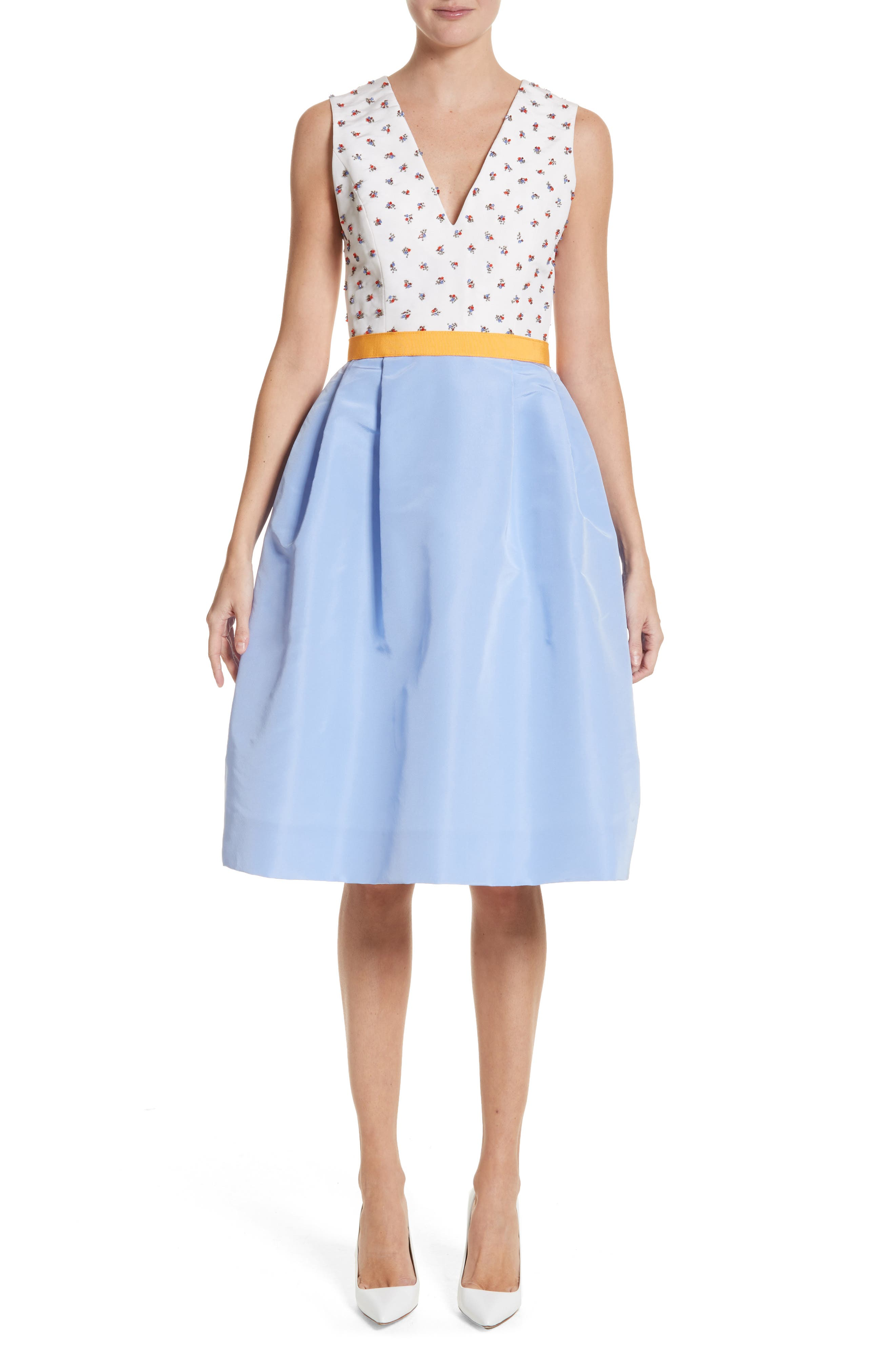 Beaded A-Line Silk Dress,                             Main thumbnail 1, color,                             White/ Cornflower