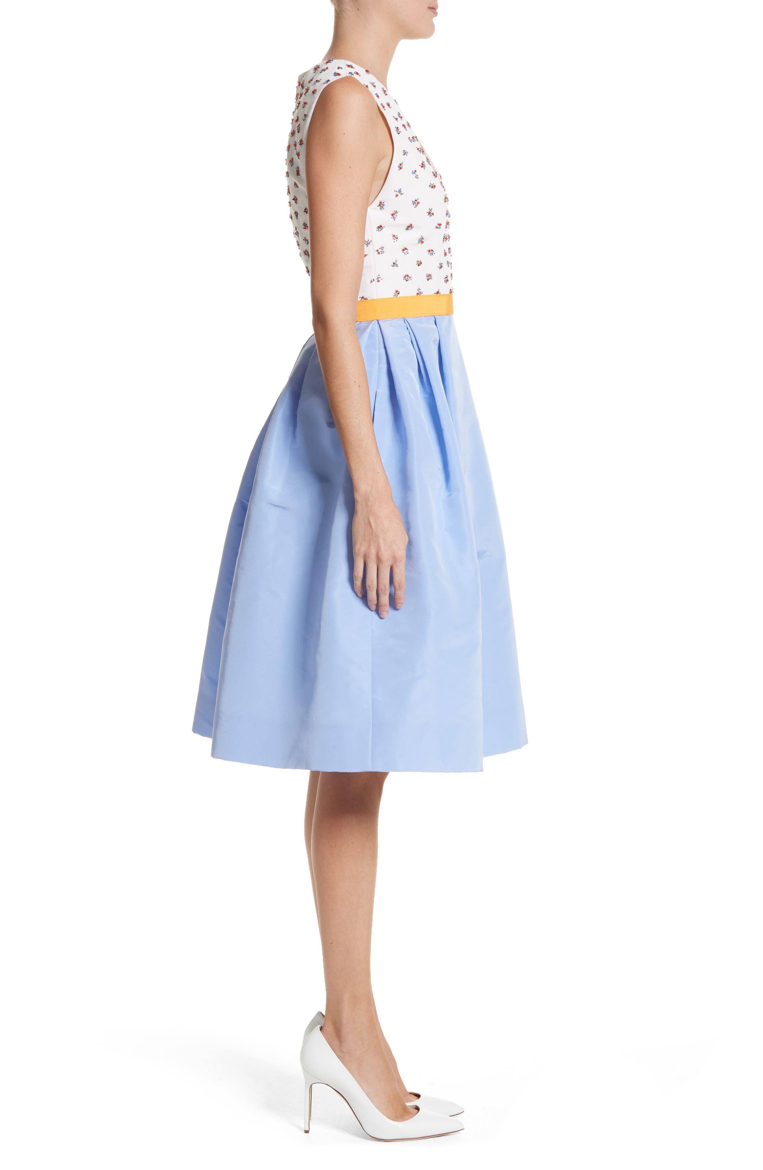 Beaded A-Line Silk Dress,                             Alternate thumbnail 3, color,                             White/ Cornflower