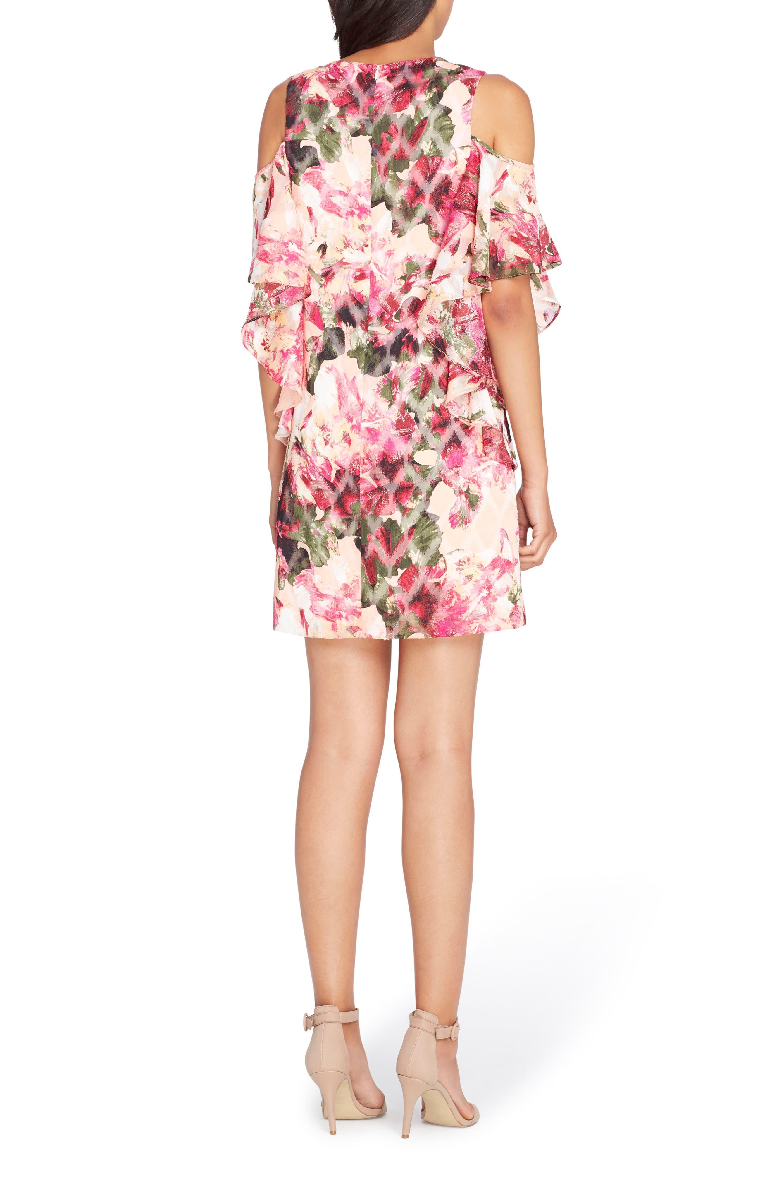 Cold Shoulder Ruffle Dress,                             Alternate thumbnail 2, color,                             Peach/ Magenta/ Olive