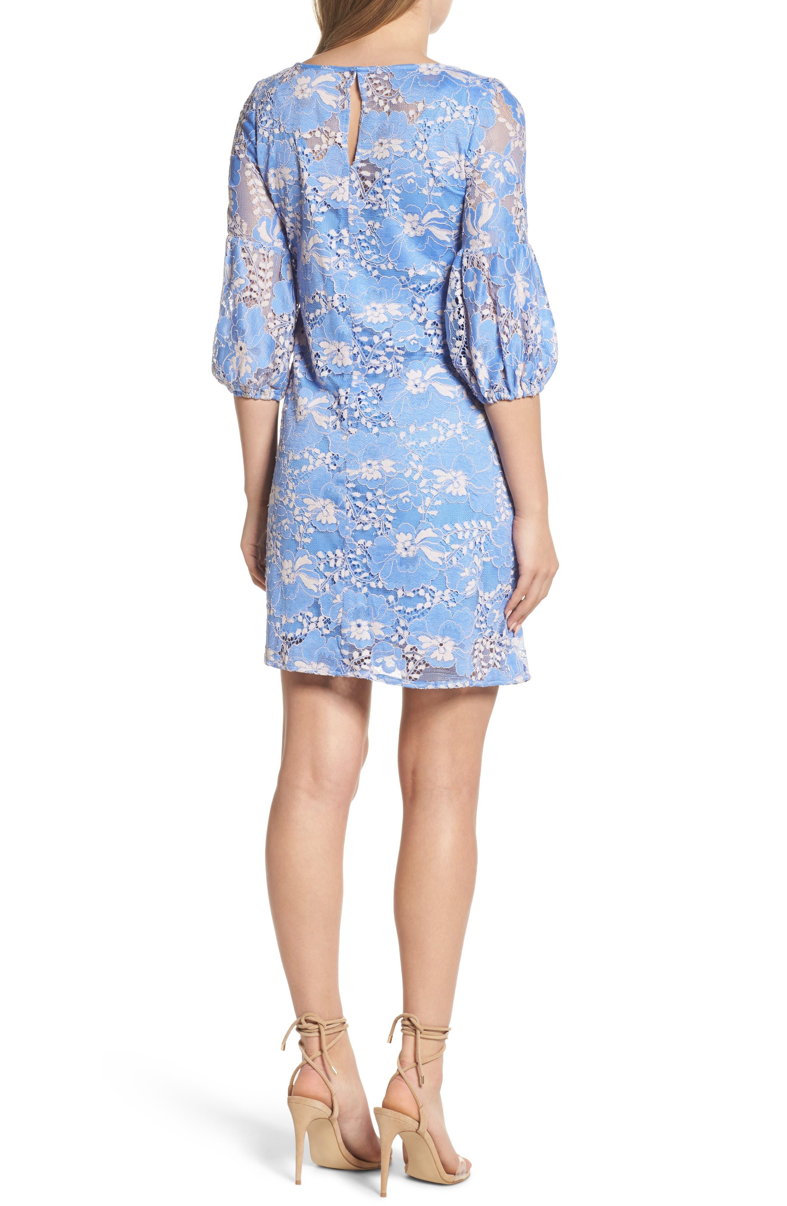 Lace Shift Dress,                             Alternate thumbnail 2, color,                             Blue/ Blush