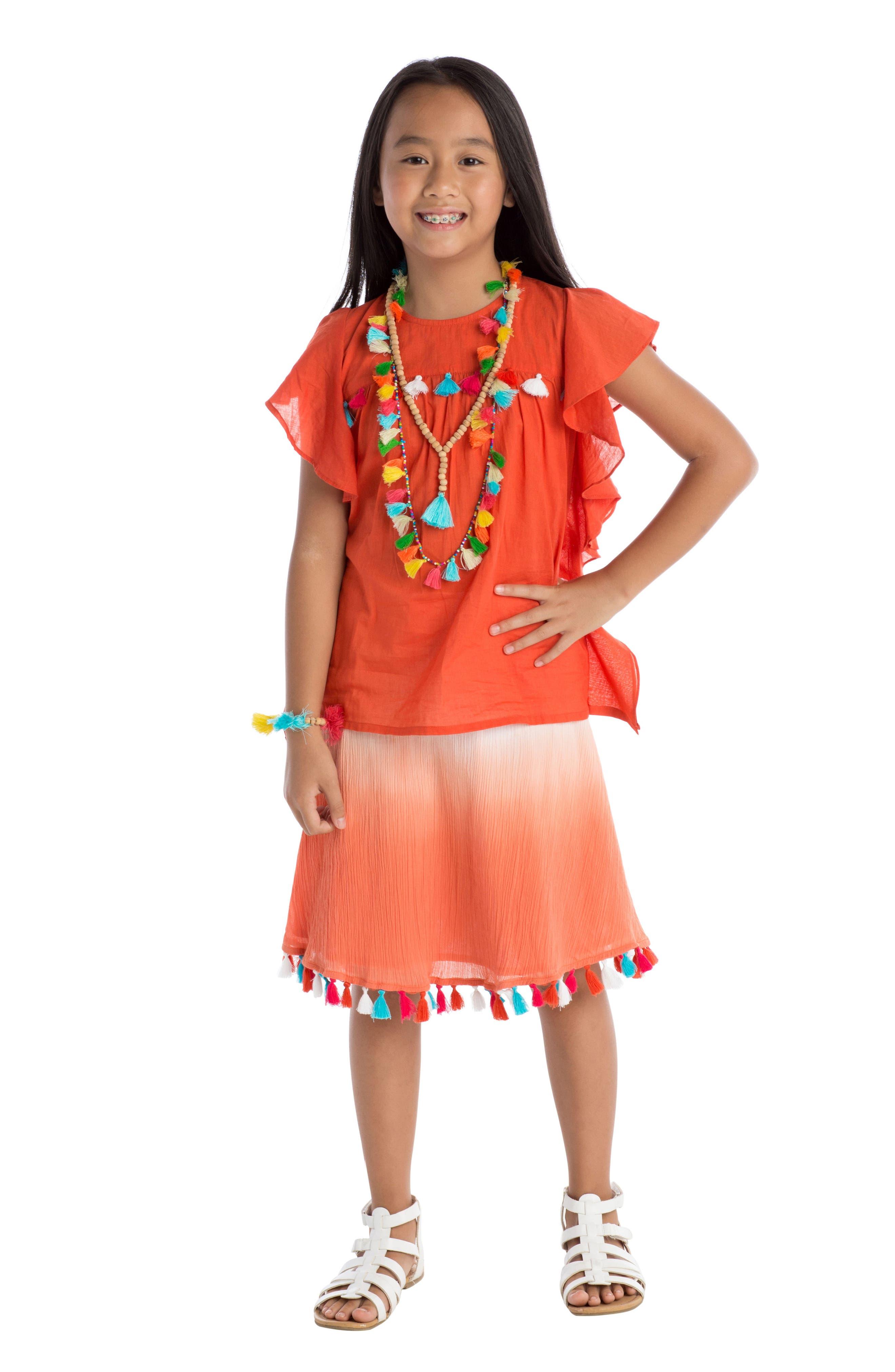 Dip Dye Tassel Skirt,                             Alternate thumbnail 2, color,                             Coral