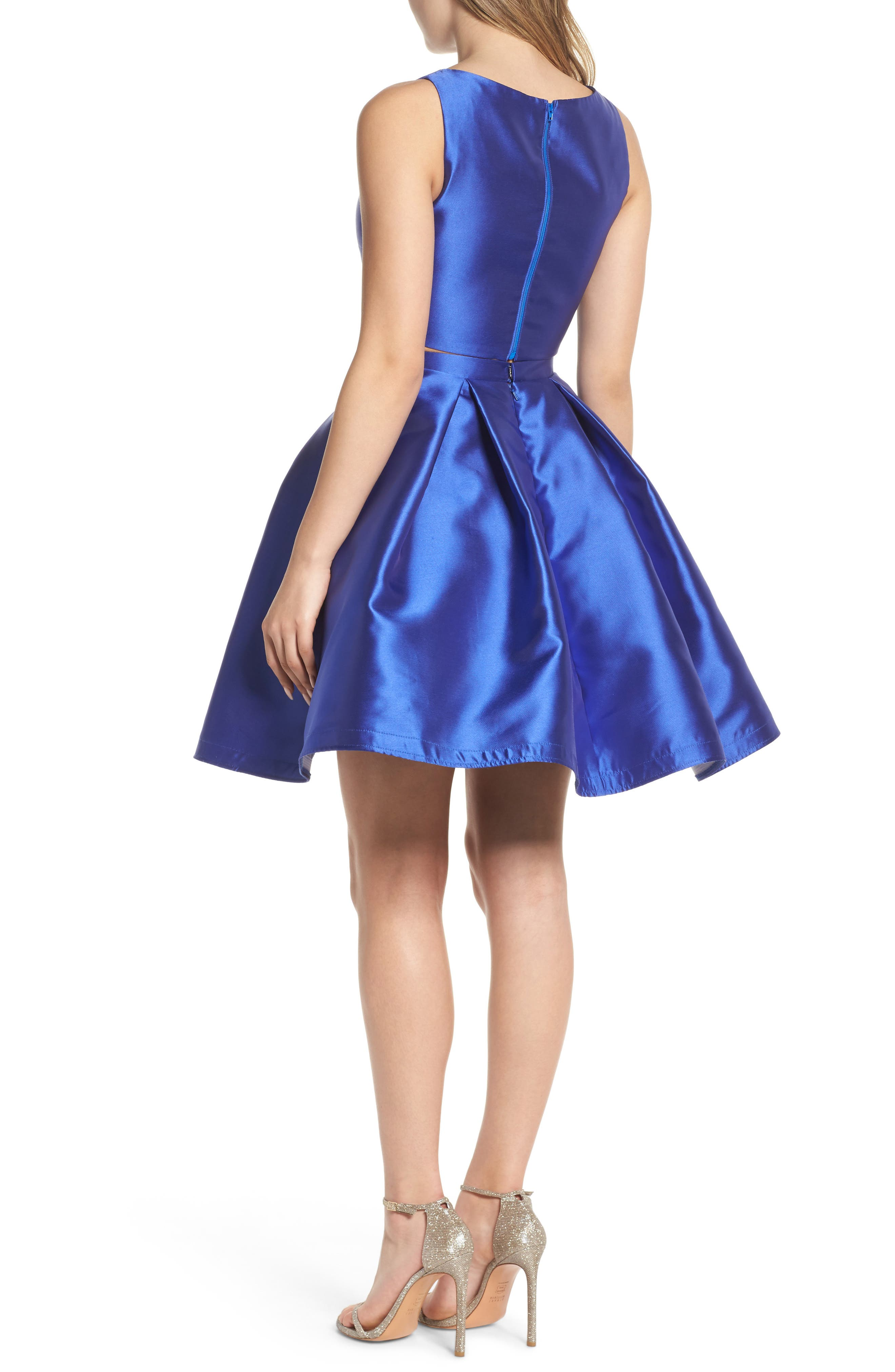 Skater Skirt Two-Piece Dress,                             Alternate thumbnail 2, color,                             Sapphire