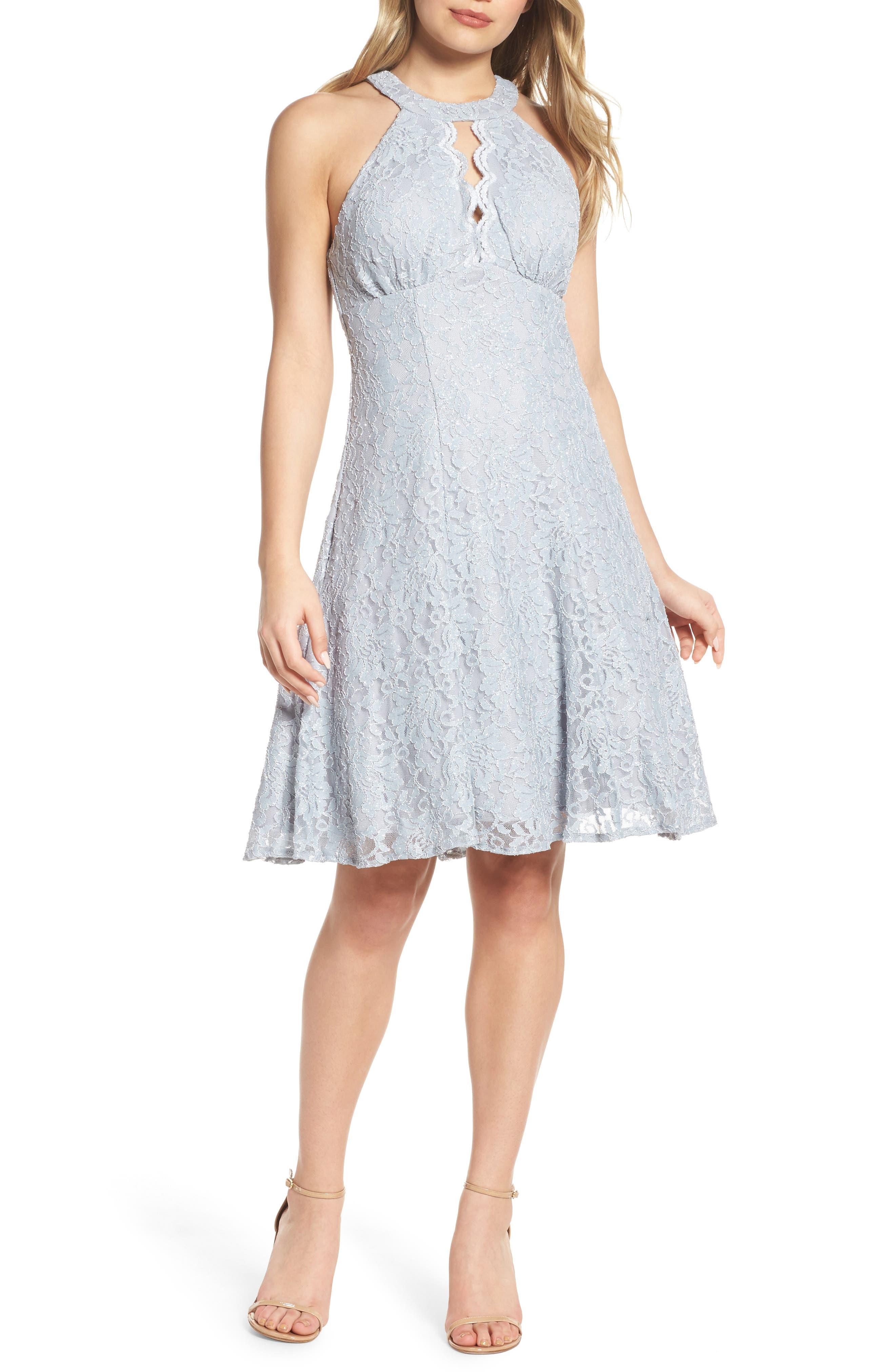 Lace Halter Neck Dress,                         Main,                         color, Platinum