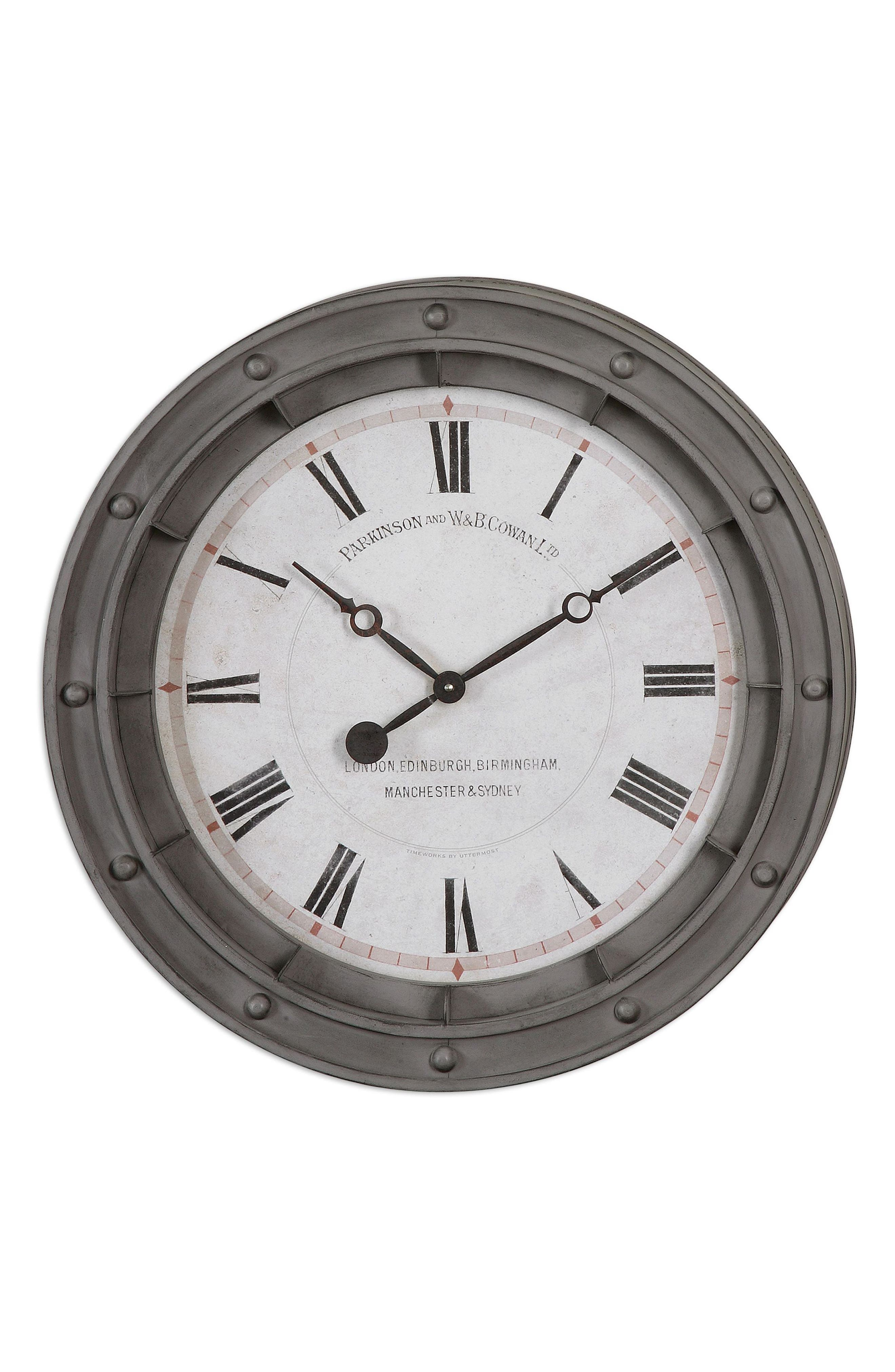 Porthole Wall Clock,                         Main,                         color, Grey