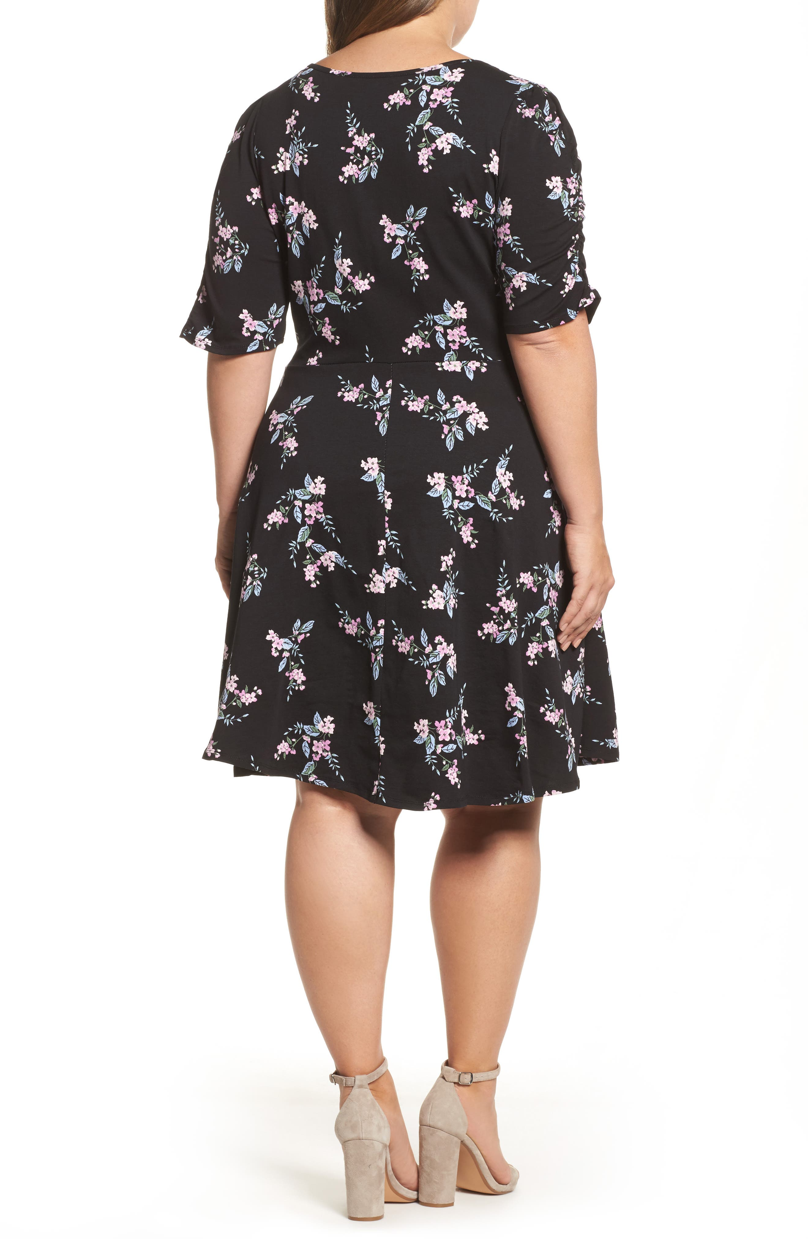 Floral Print Fit & Flare Dress,                             Alternate thumbnail 2, color,                             Black