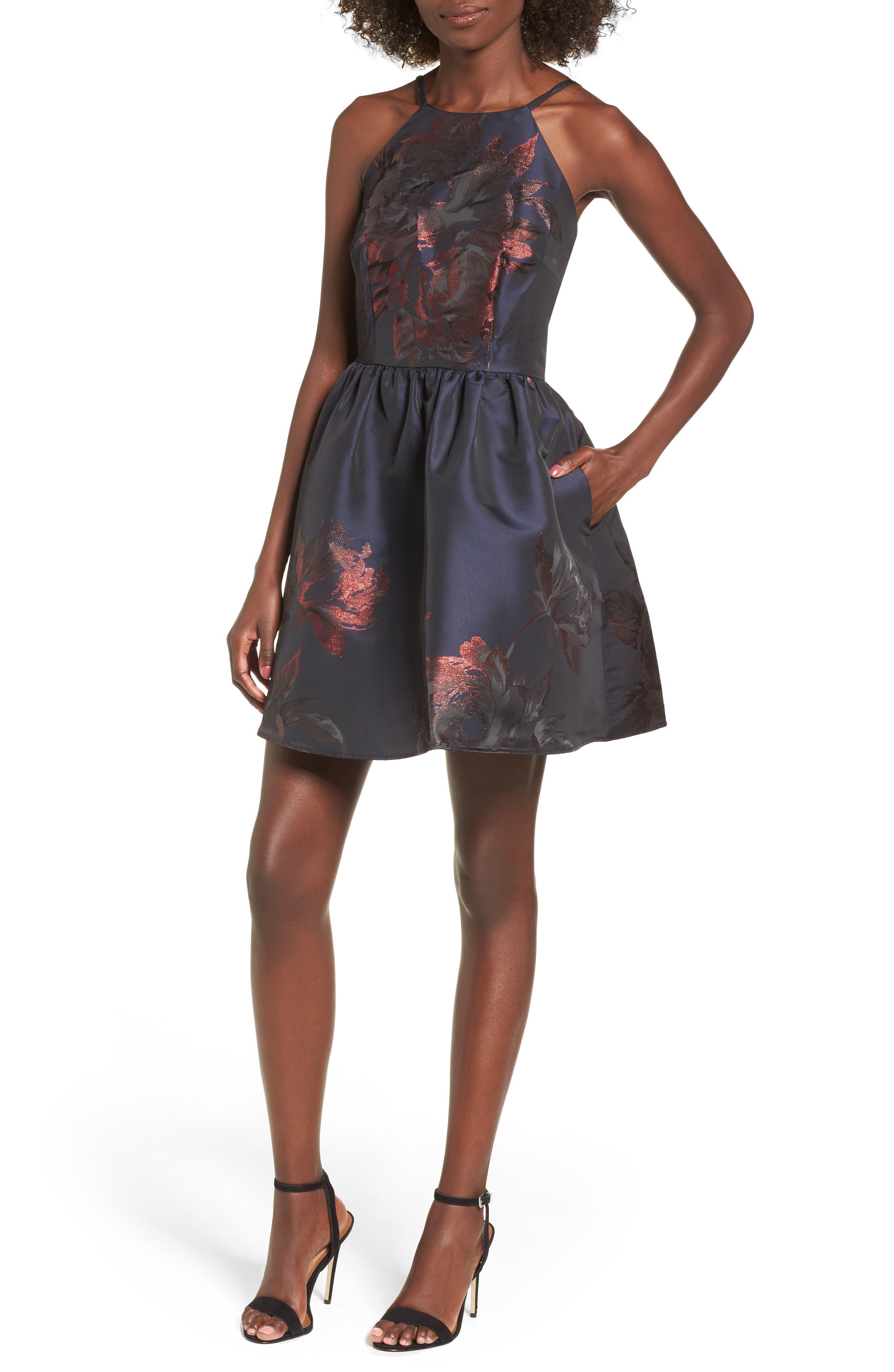 Metallic Floral Fit & Flare Dress,                         Main,                         color, Navy/ Burgundy