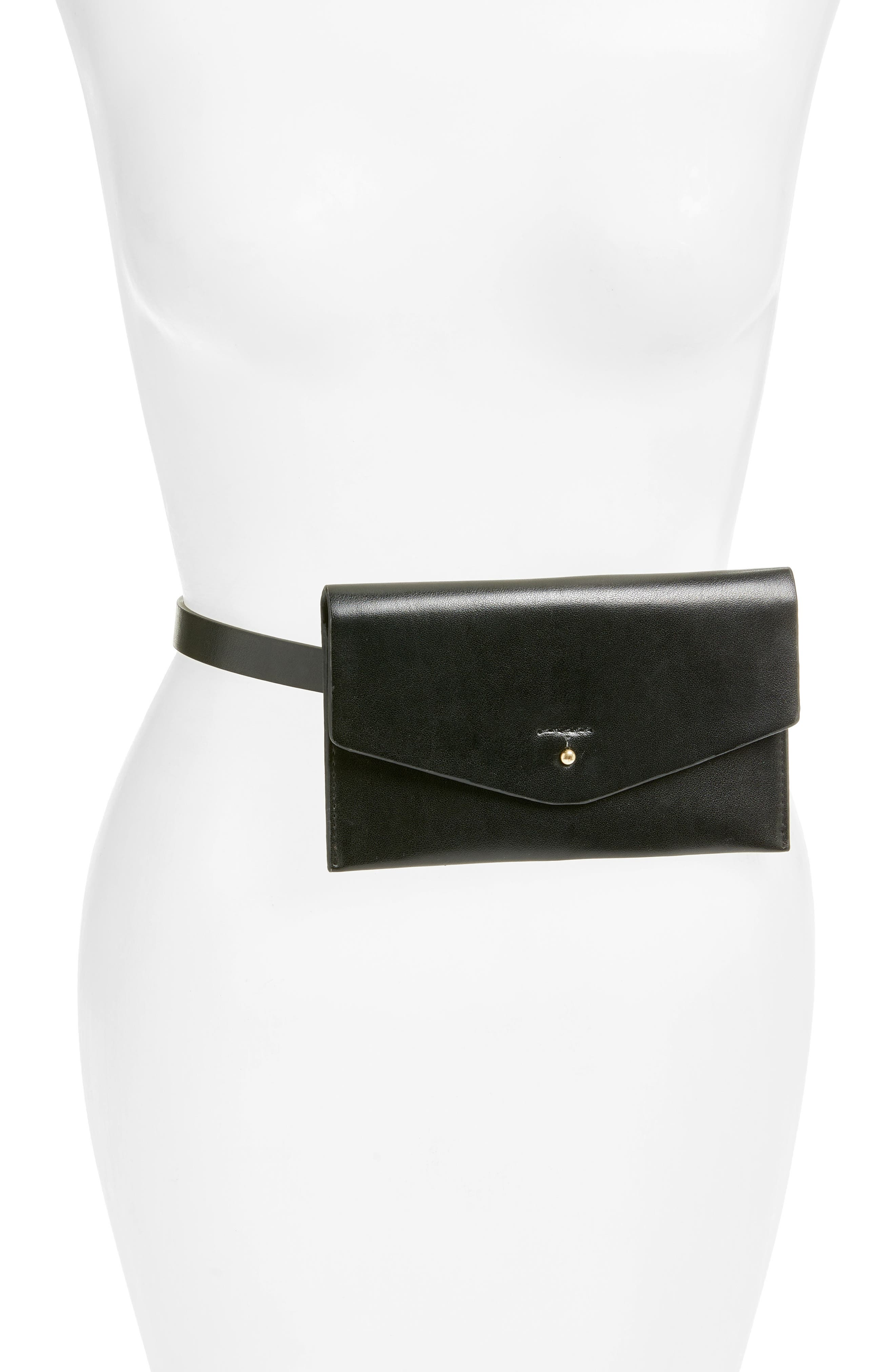LODIS Faux Leather Belt Bag,                             Main thumbnail 1, color,                             Black