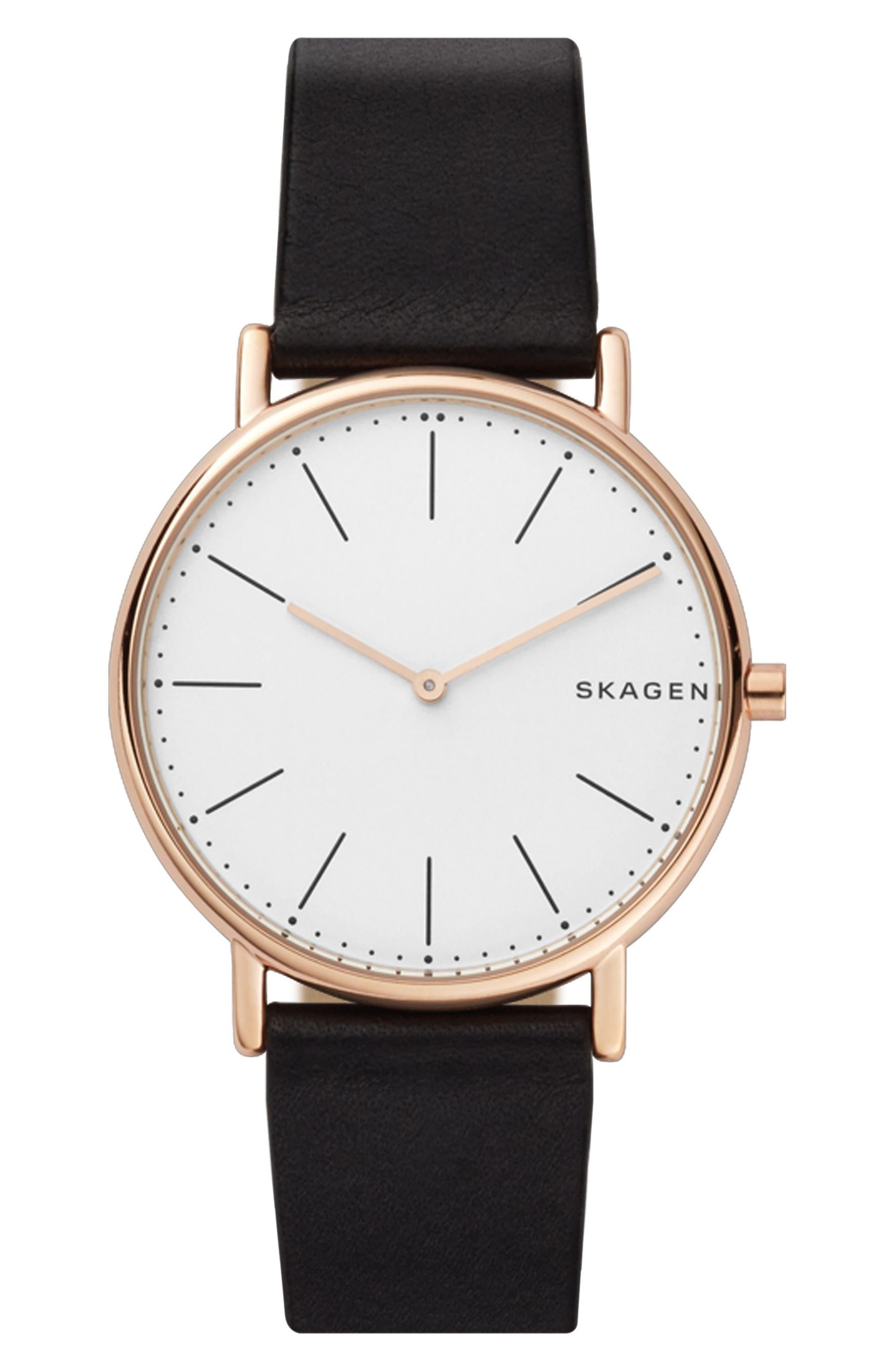Signatur Slim Leather Strap Watch, 40mm,                         Main,                         color, Black/ White/ Rose Gold